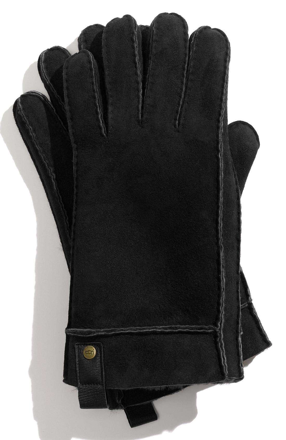 Genuine Shearling Gloves,                             Main thumbnail 1, color,                             001