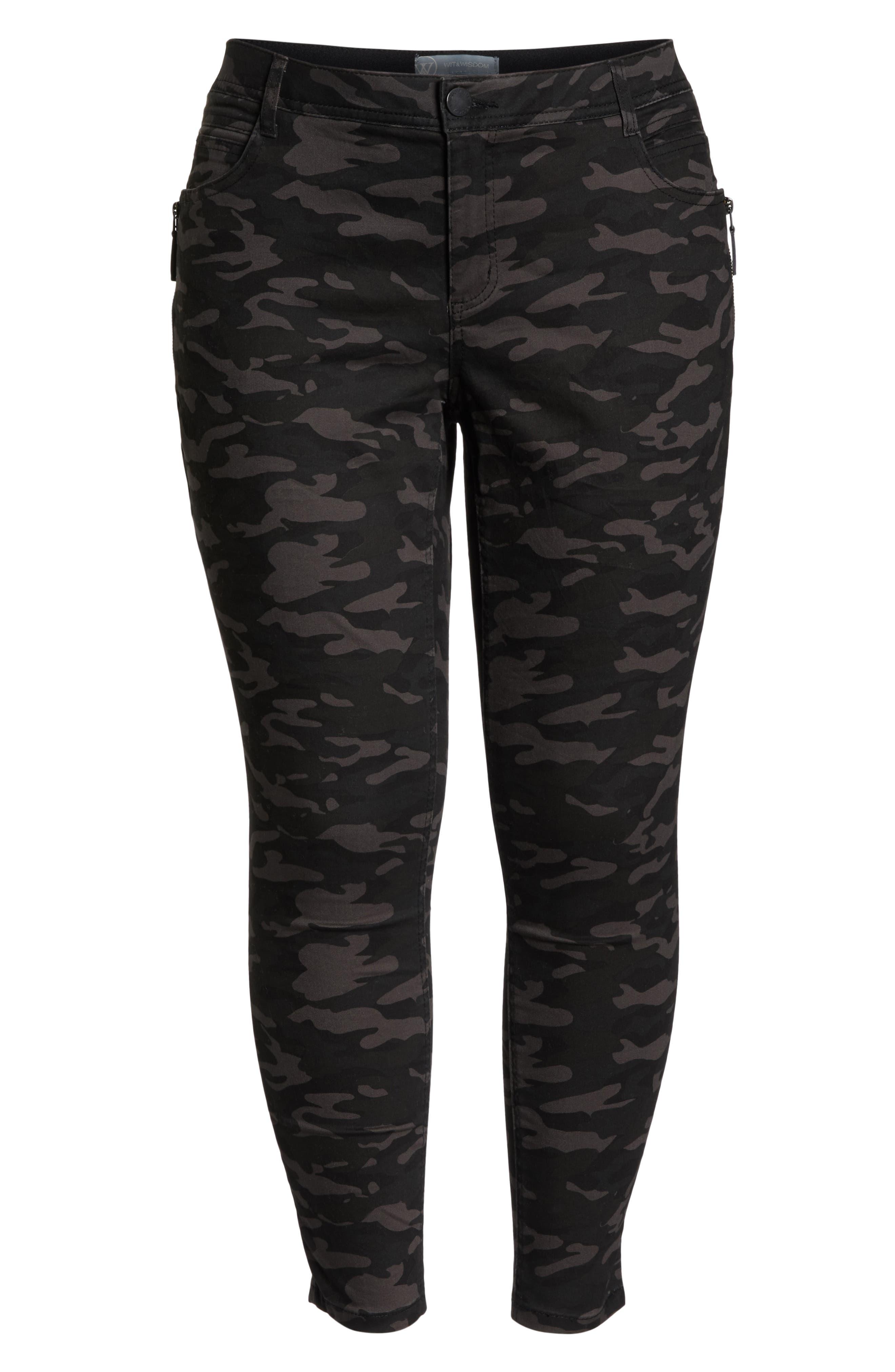 Ab-Solution Camo Ankle Pants,                             Alternate thumbnail 6, color,                             BLACK