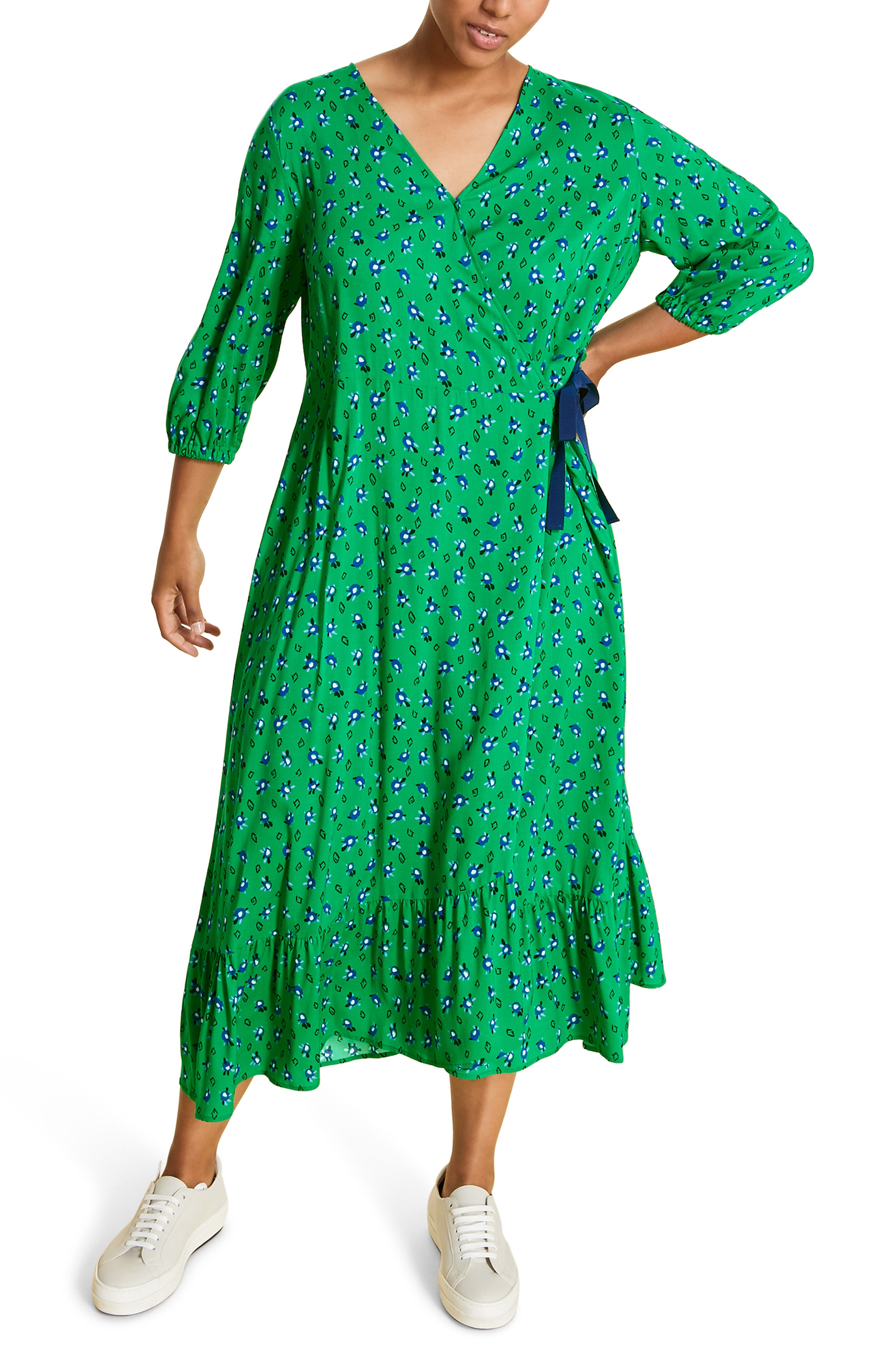 Plus Size Marina Rinaldi Destro Wrap Midi Dress, Green