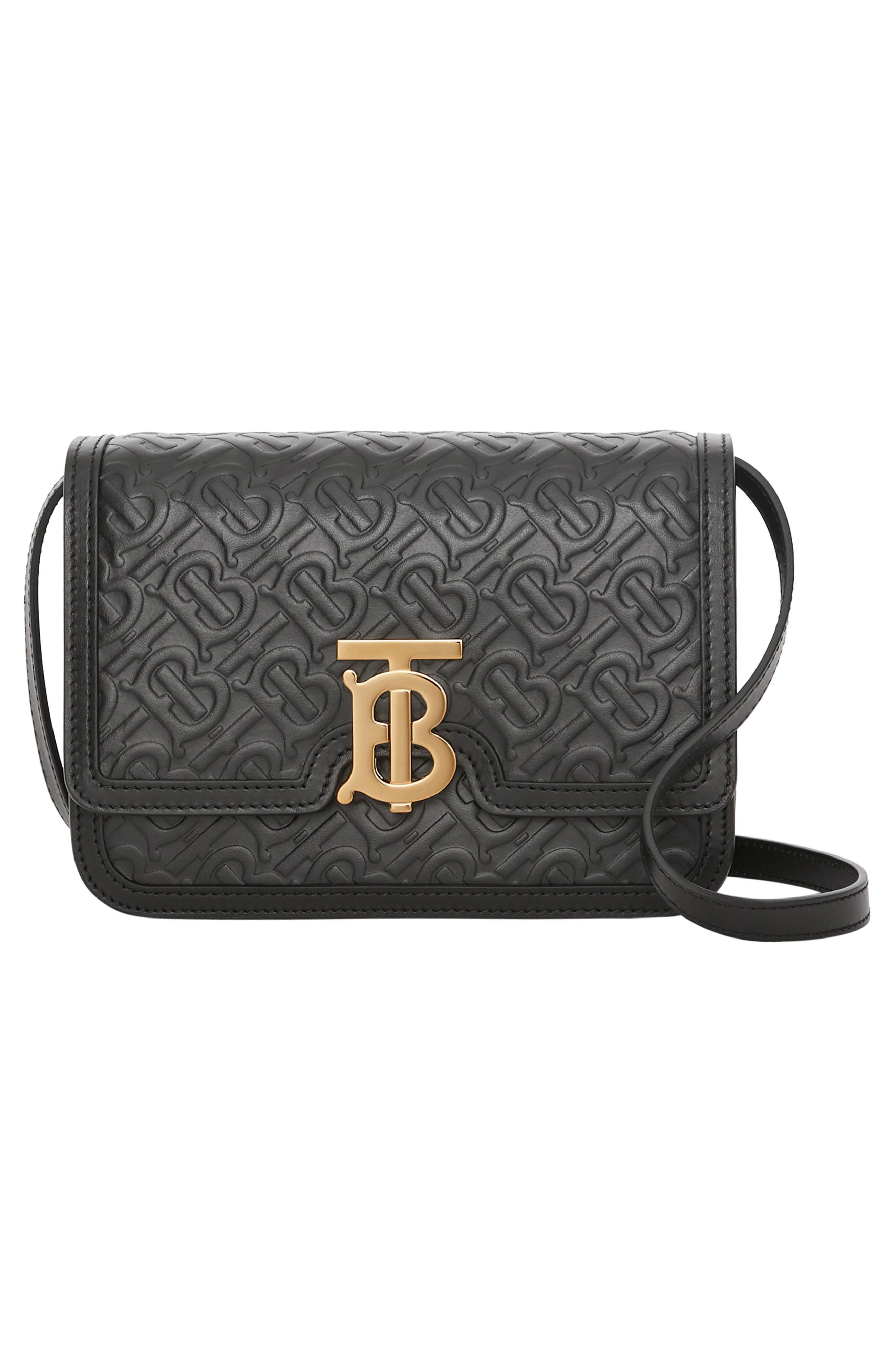 BURBERRY,                             Small Monogram Leather TB Bag,                             Alternate thumbnail 6, color,                             BLACK