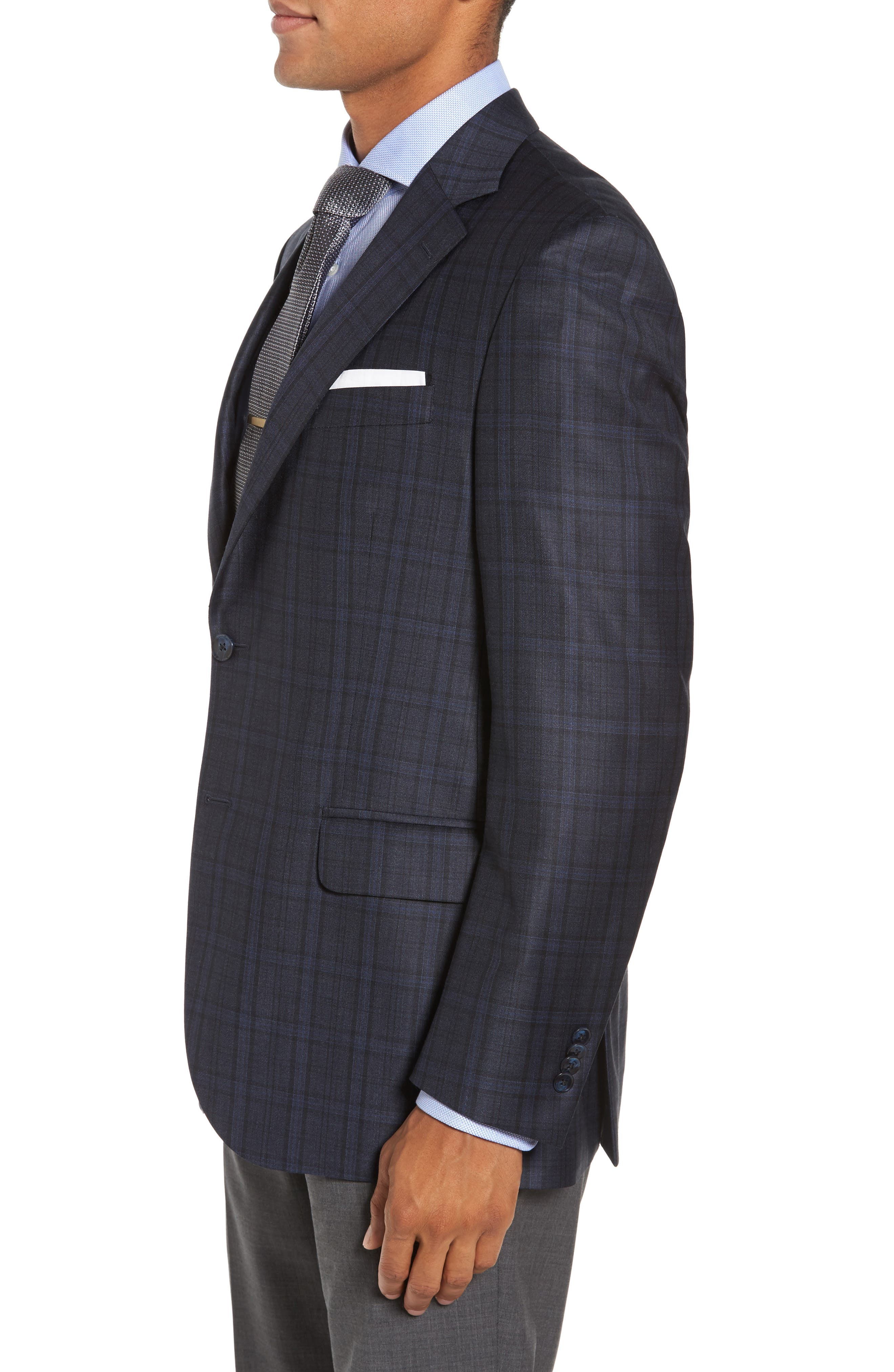 Classic Fit Plaid Wool Sport Coat,                             Alternate thumbnail 3, color,
