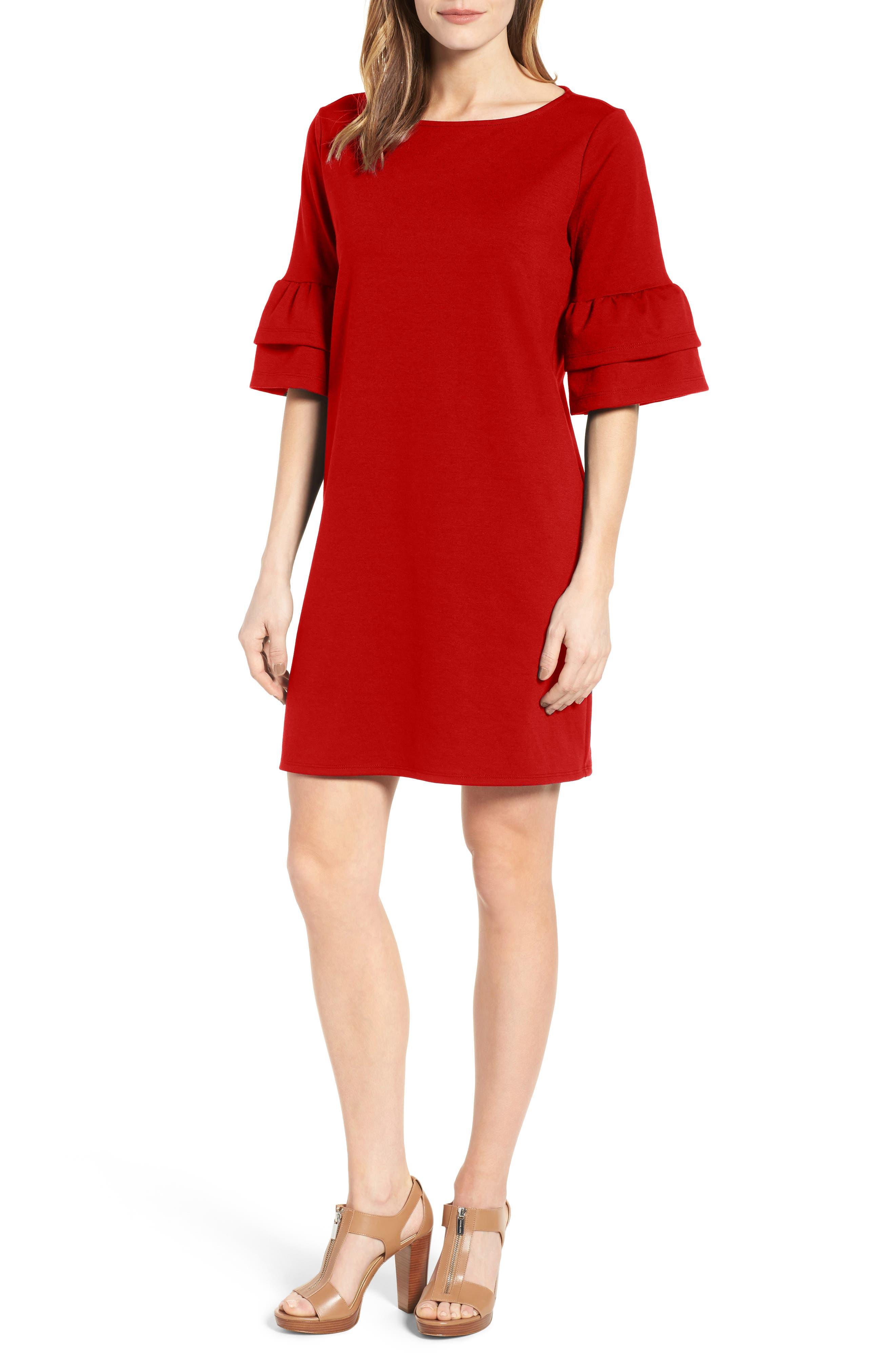 Ruffle Sleeve Shift Dress,                             Main thumbnail 4, color,