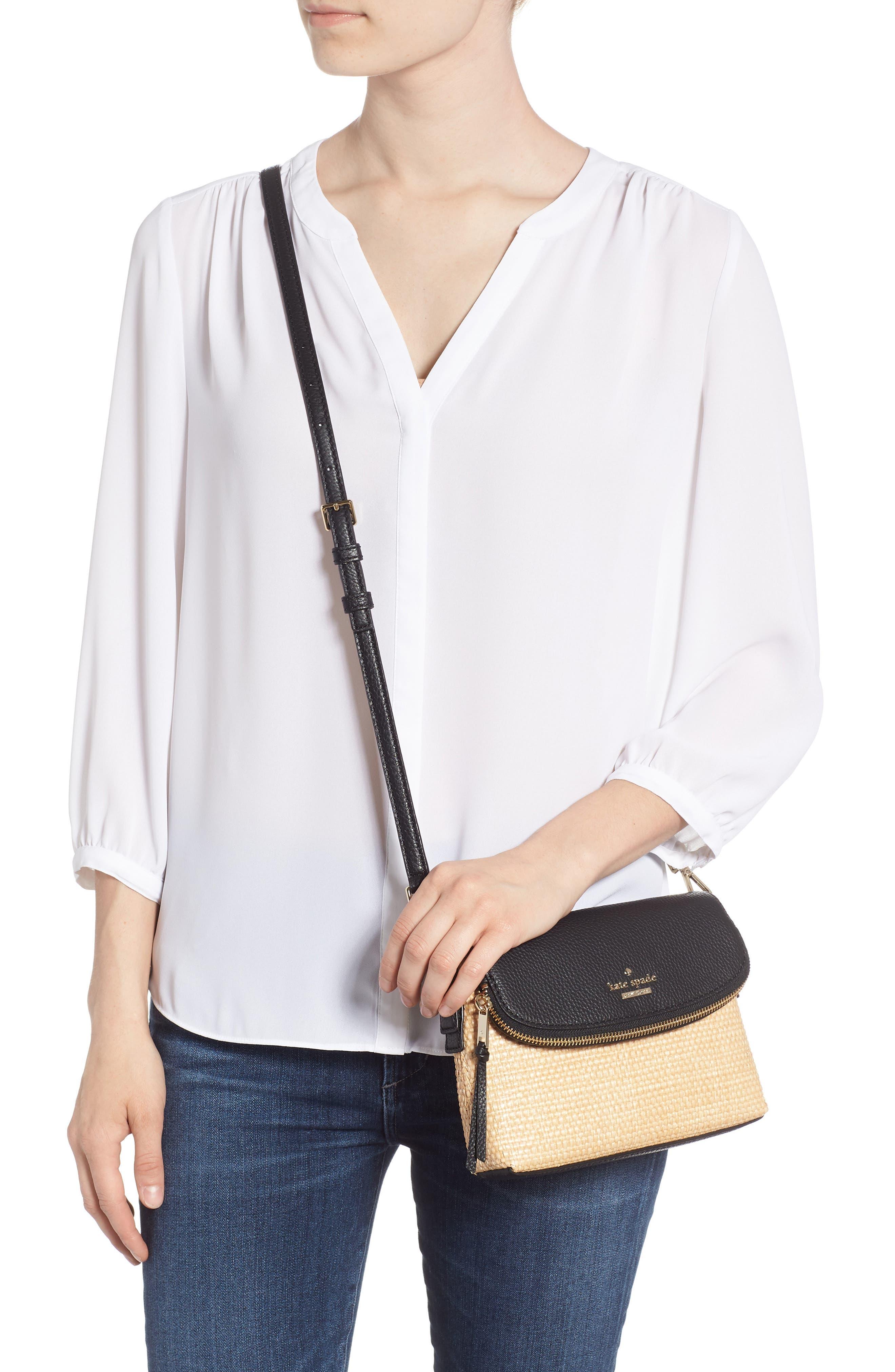 jackson street – harlyn straw & leather crossbody bag,                             Alternate thumbnail 2, color,