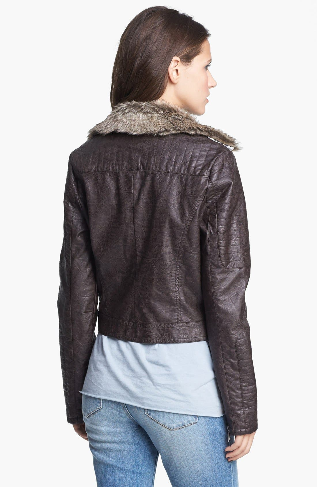 Faux Leather Moto Jacket With Faux Fur Collar,                             Alternate thumbnail 3, color,                             208