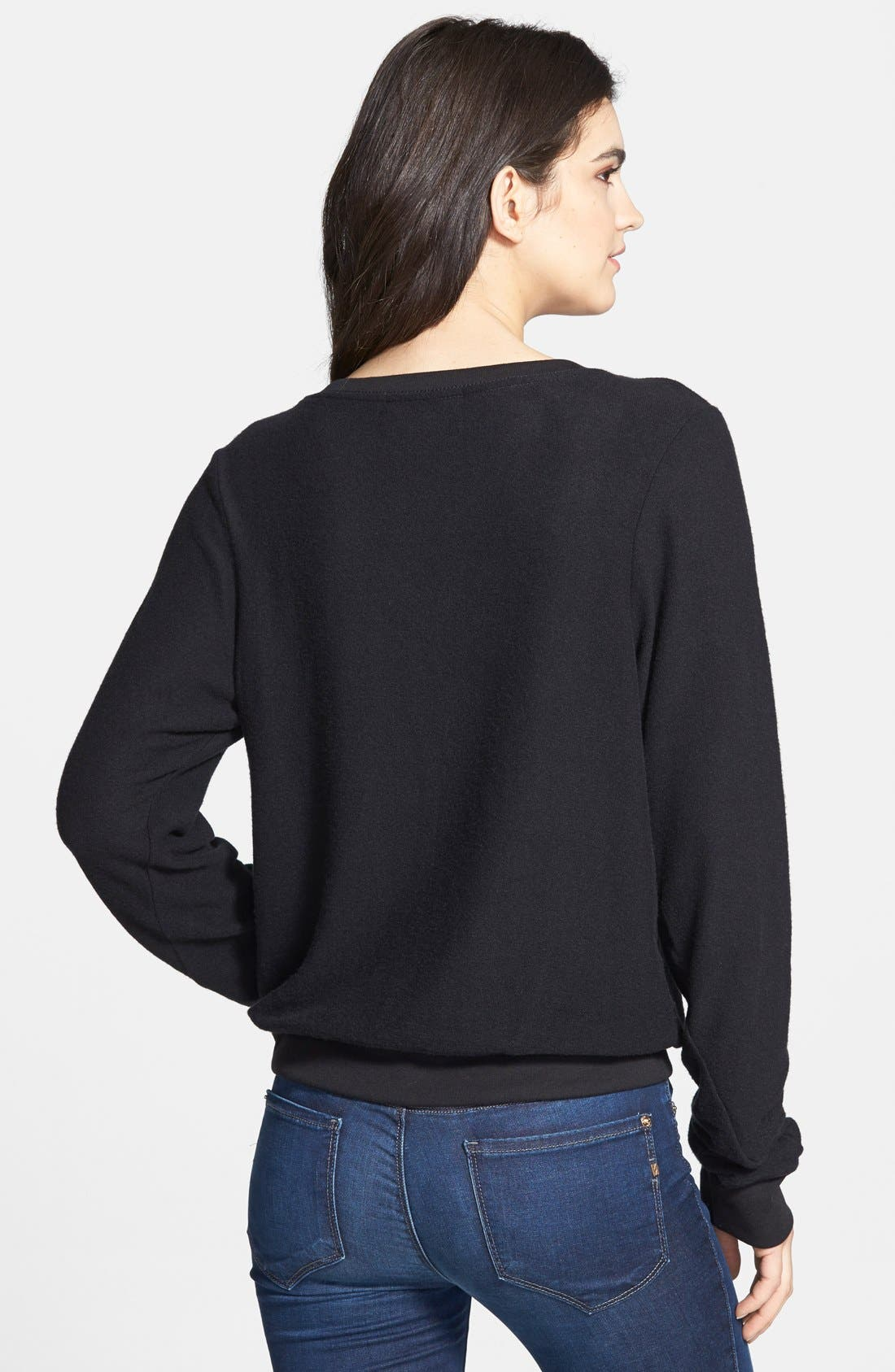 'Baggy Beach Jumper' Pullover,                             Alternate thumbnail 7, color,                             JET BLACK