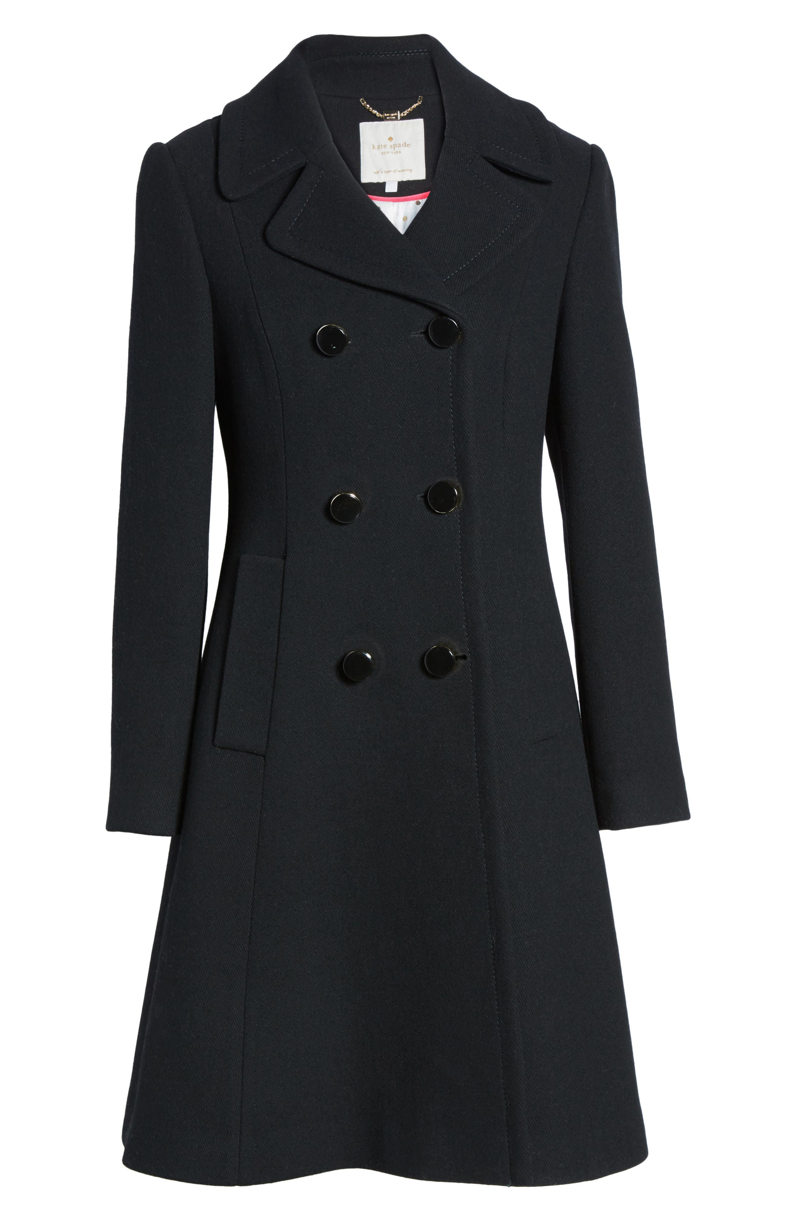 twill fit & flare coat,                             Alternate thumbnail 5, color,                             001