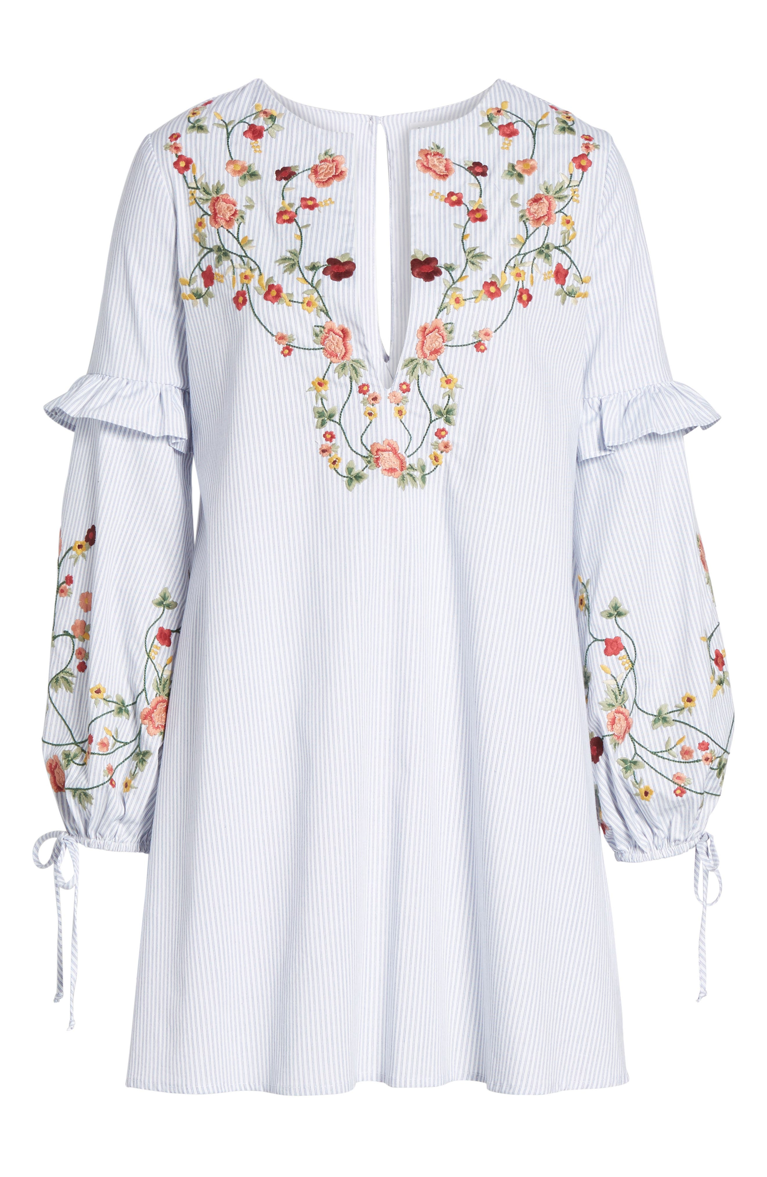 Embroidered Poplin Dress,                             Alternate thumbnail 6, color,