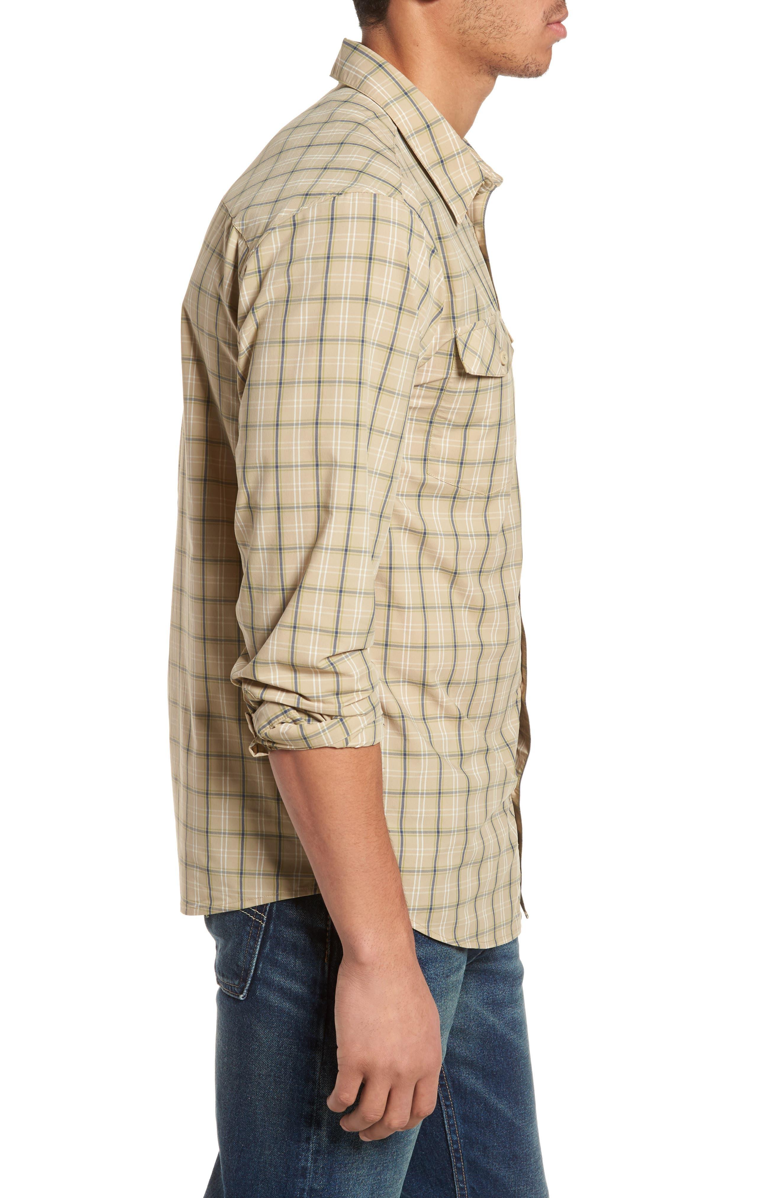 M's High Moss Plaid Sport Shirt,                             Alternate thumbnail 3, color,                             EL CAP KHAKI