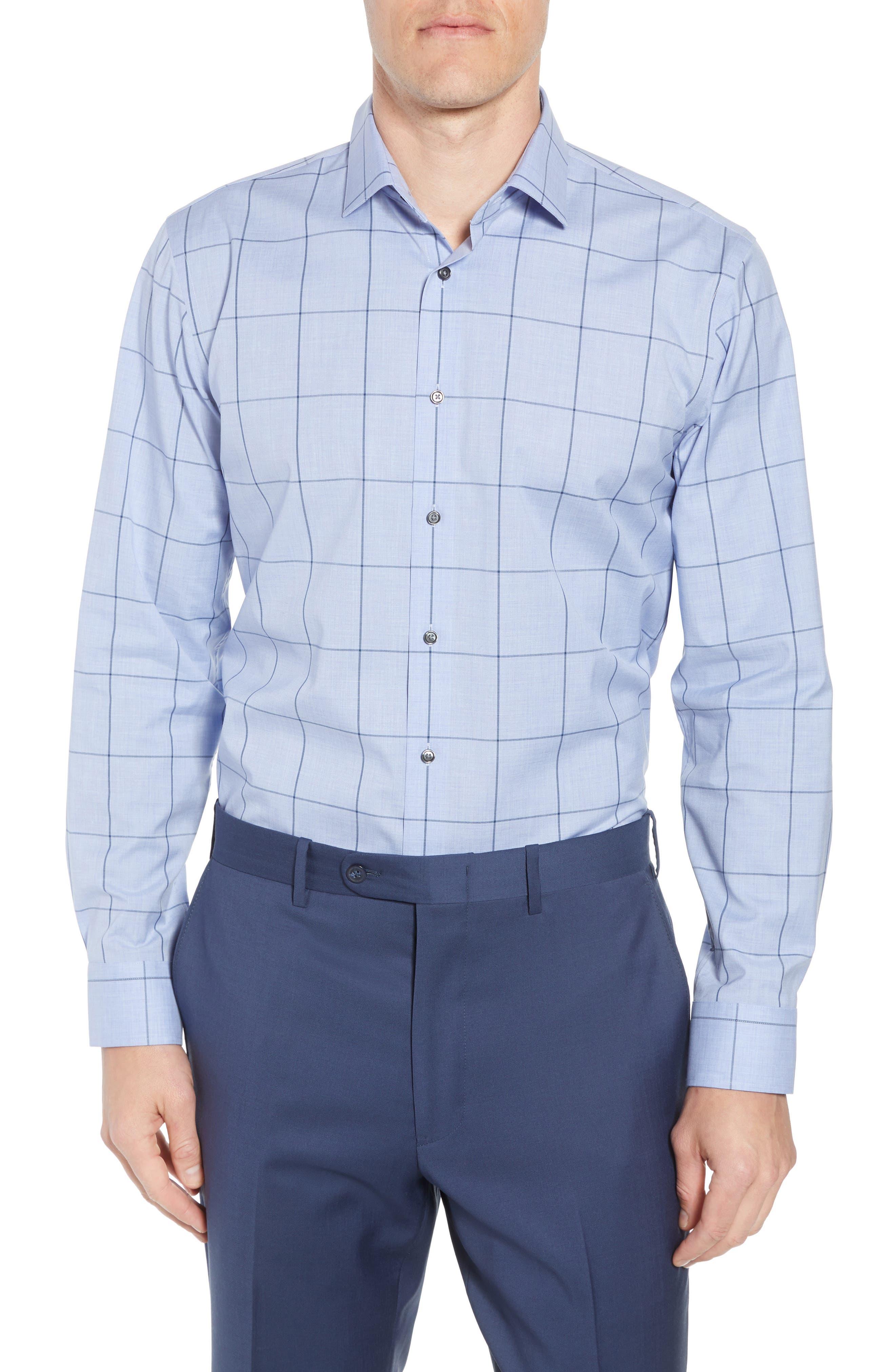 Trim Fit Non-Iron Windowpane Dress Shirt,                         Main,                         color, BLUE HAZE