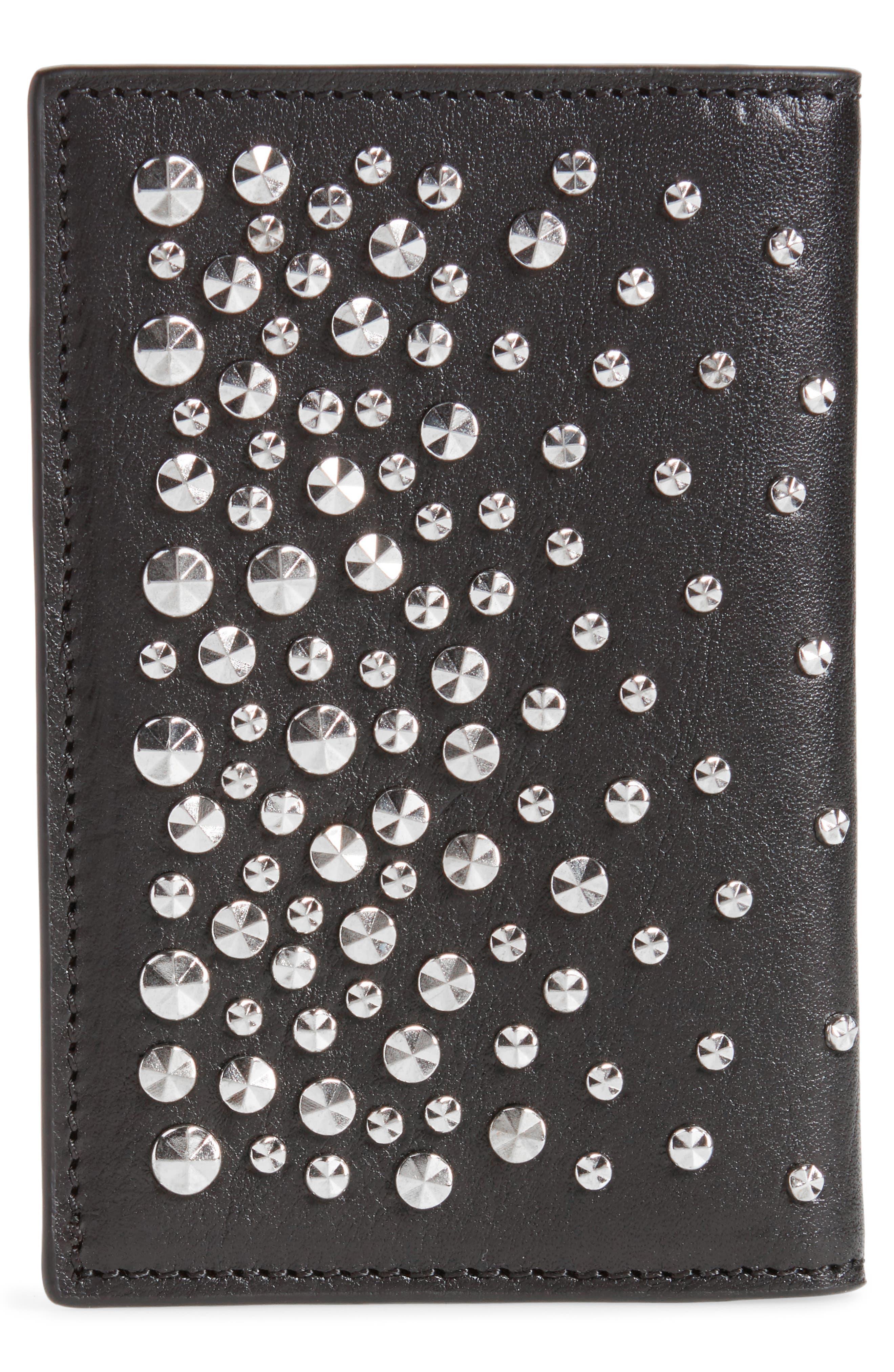 Studs & Skull Leather Card Case,                             Alternate thumbnail 3, color,                             001
