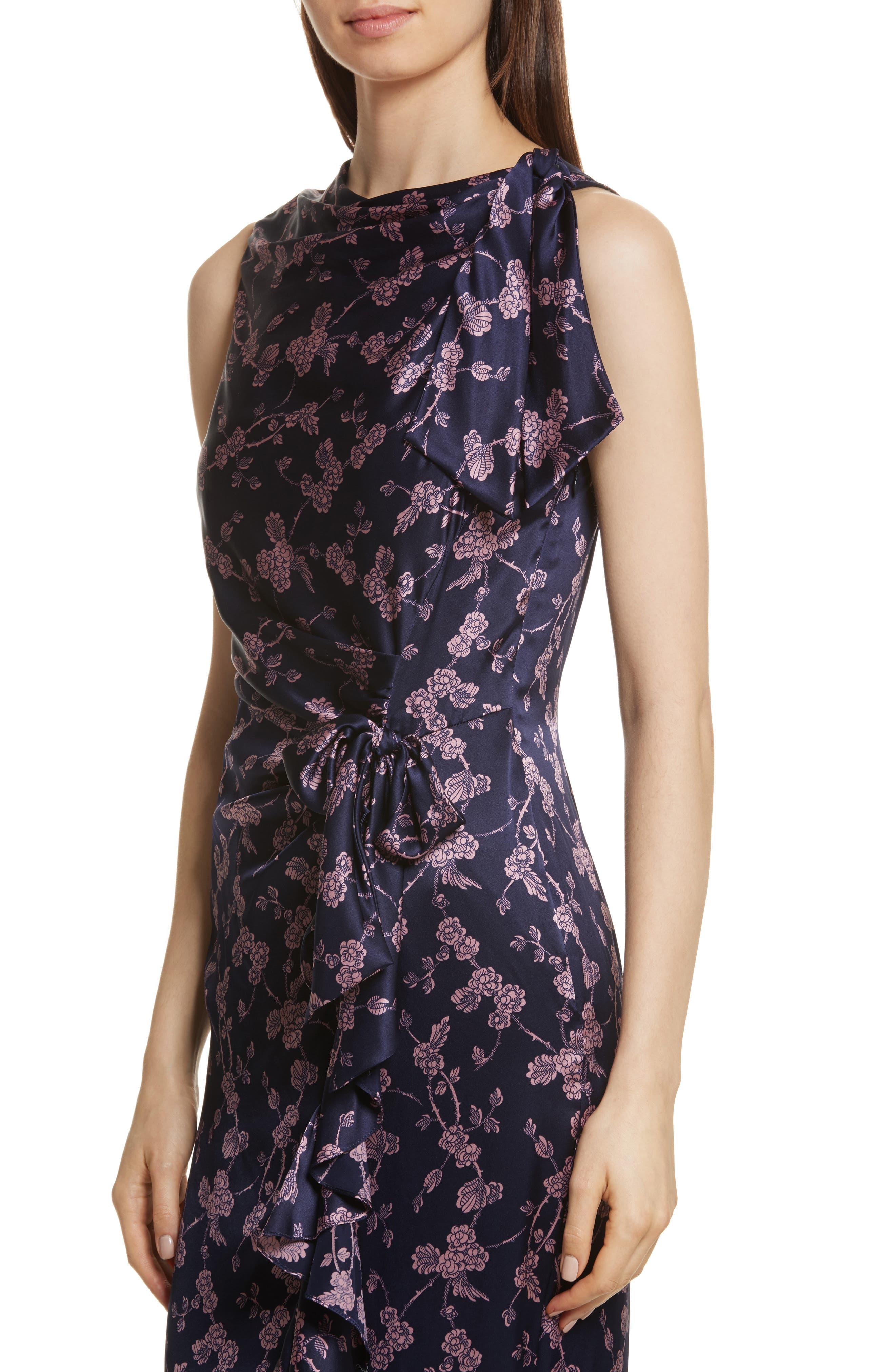 Nanon Knotted Silk Dress,                             Alternate thumbnail 4, color,                             699