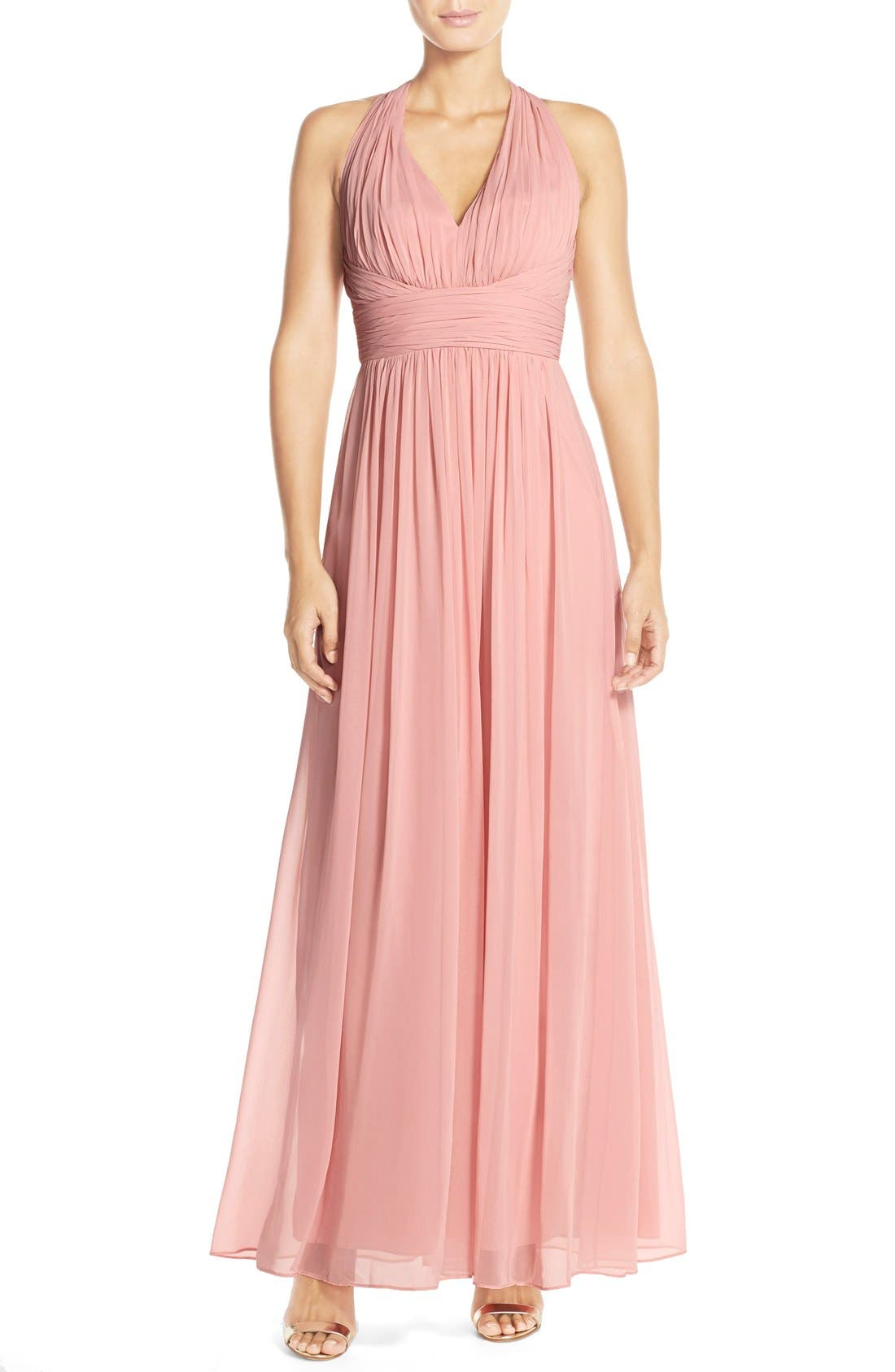 Dessy Collection Ruched Chiffon V-Neck Halter Gown,                             Main thumbnail 3, color,