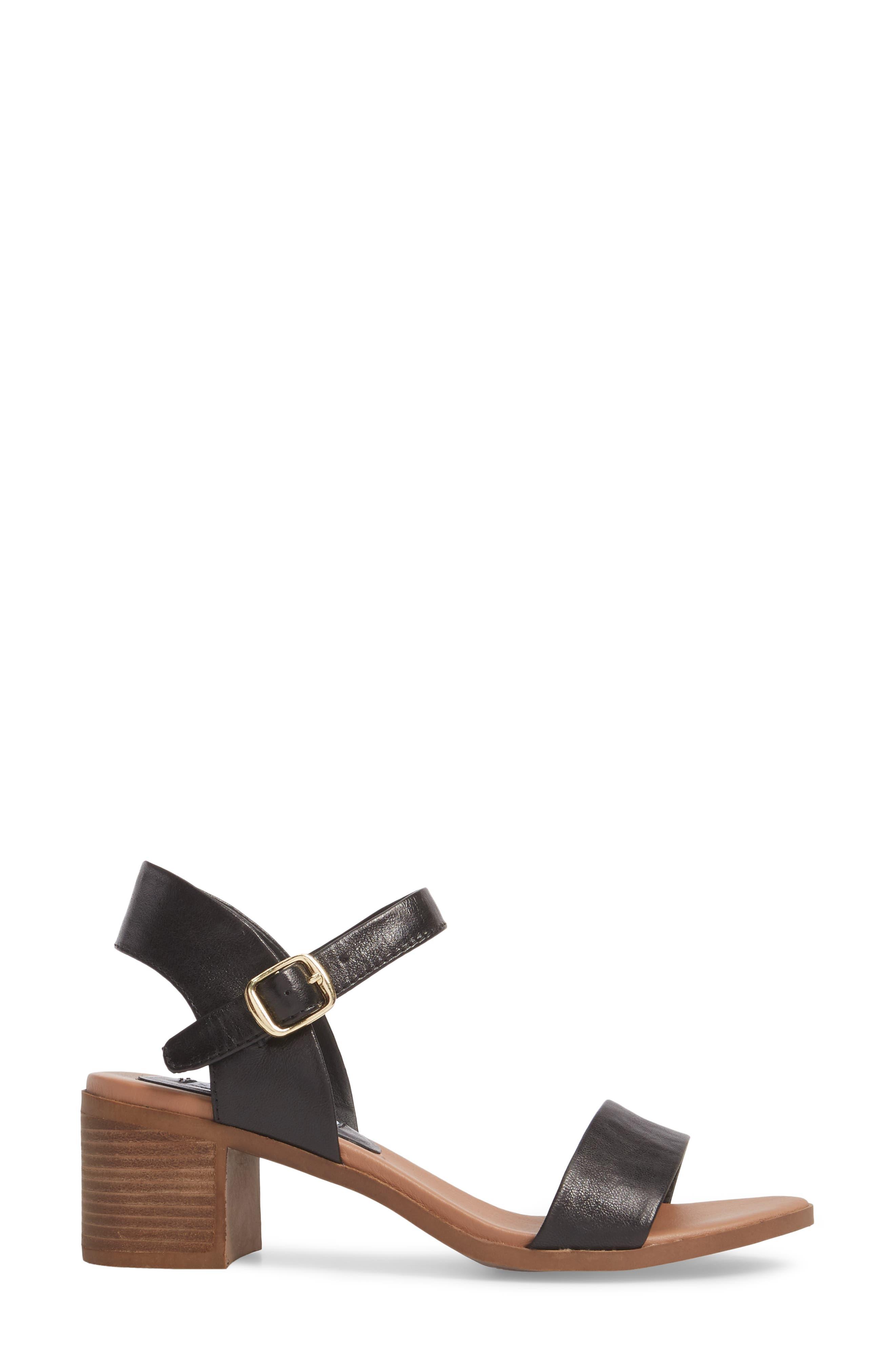 April Block Heel Sandal,                             Alternate thumbnail 3, color,                             BLACK LEATHER