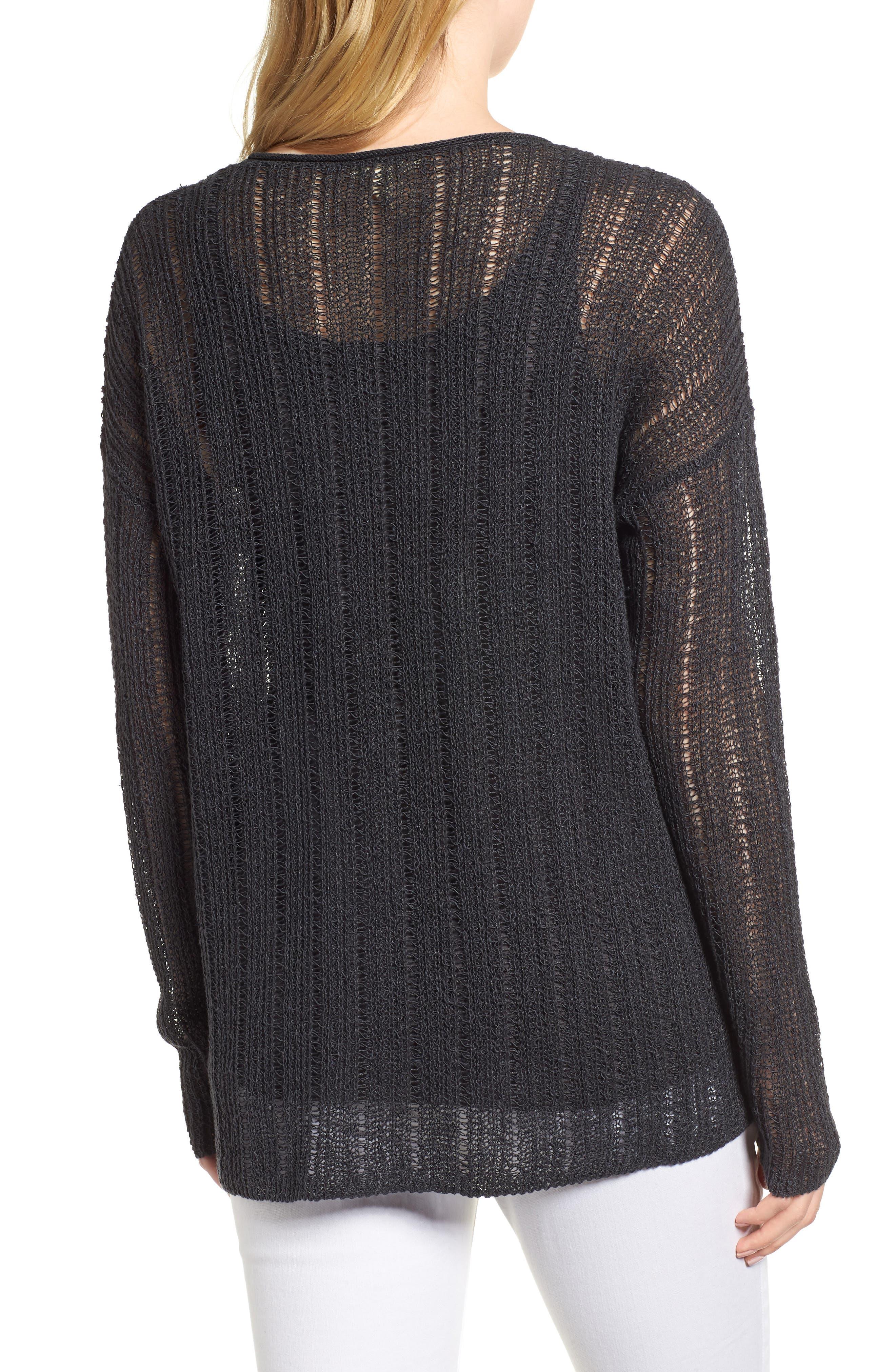 Open Knit Organic Linen Blend Sweater,                             Alternate thumbnail 2, color,                             025