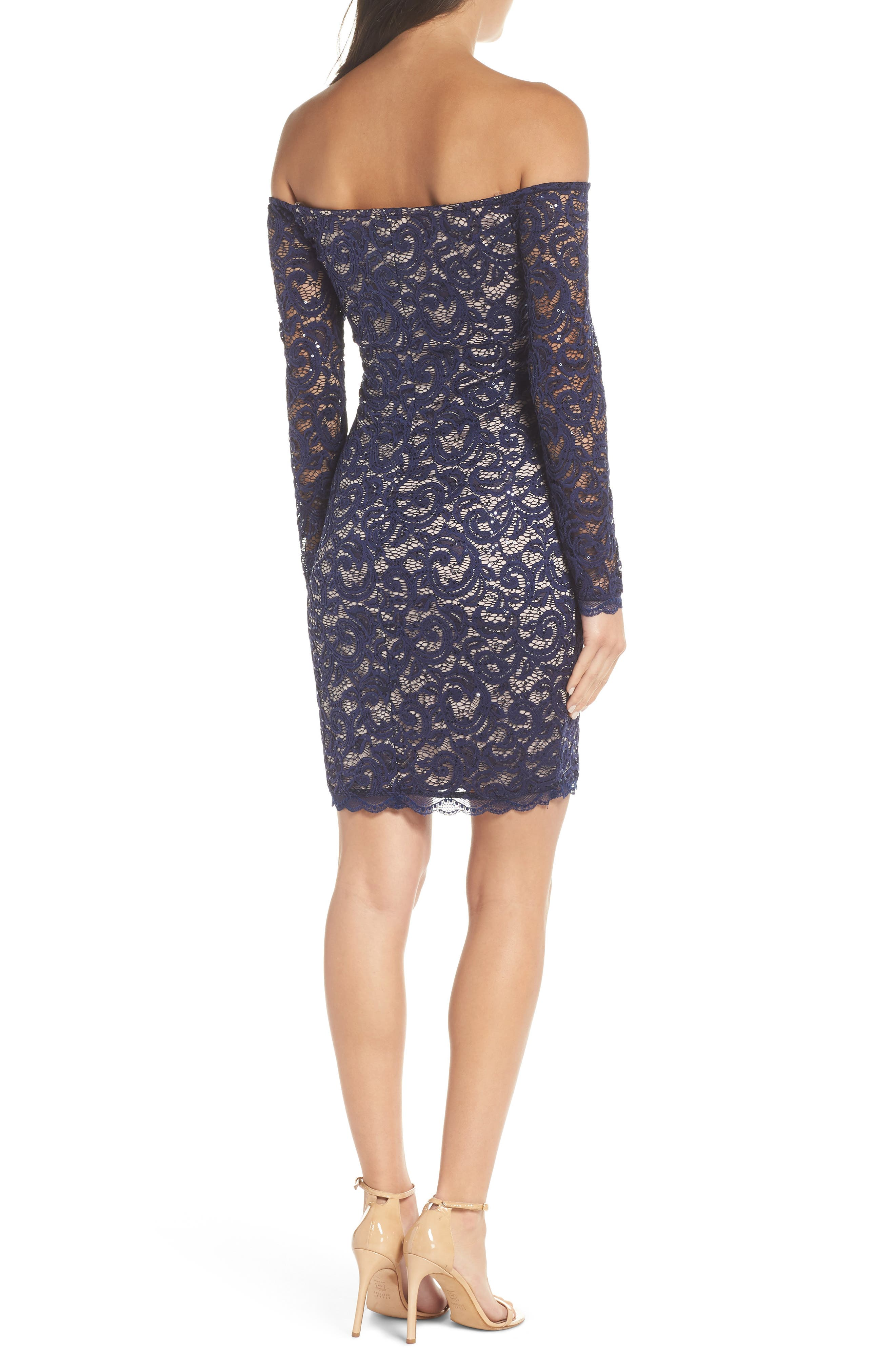 Off the Shoulder Long Sleeve Lace Cocktail Dress,                             Alternate thumbnail 2, color,                             NAVY
