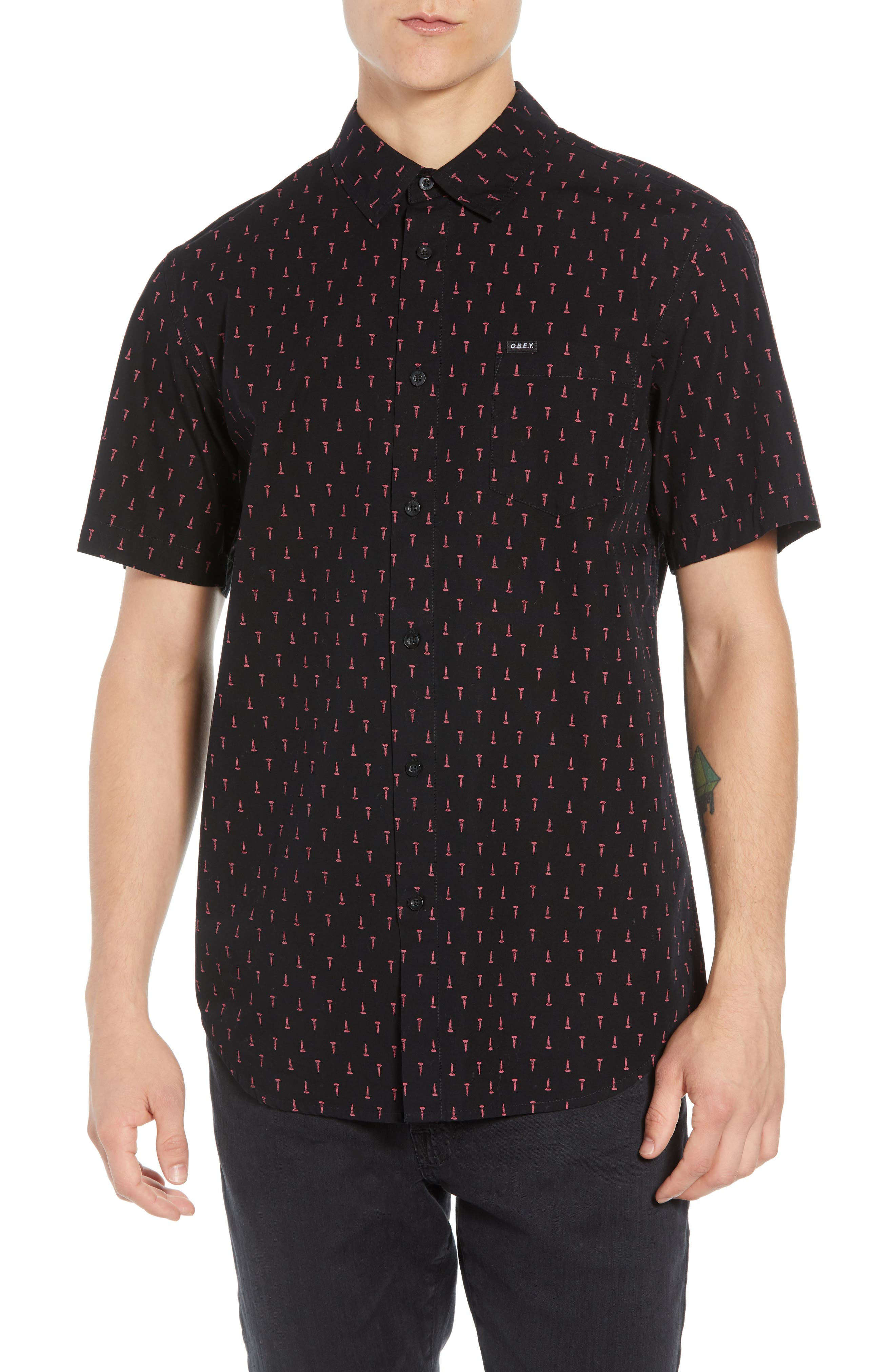 Screw Print Woven Shirt,                         Main,                         color, BLACK MULTI