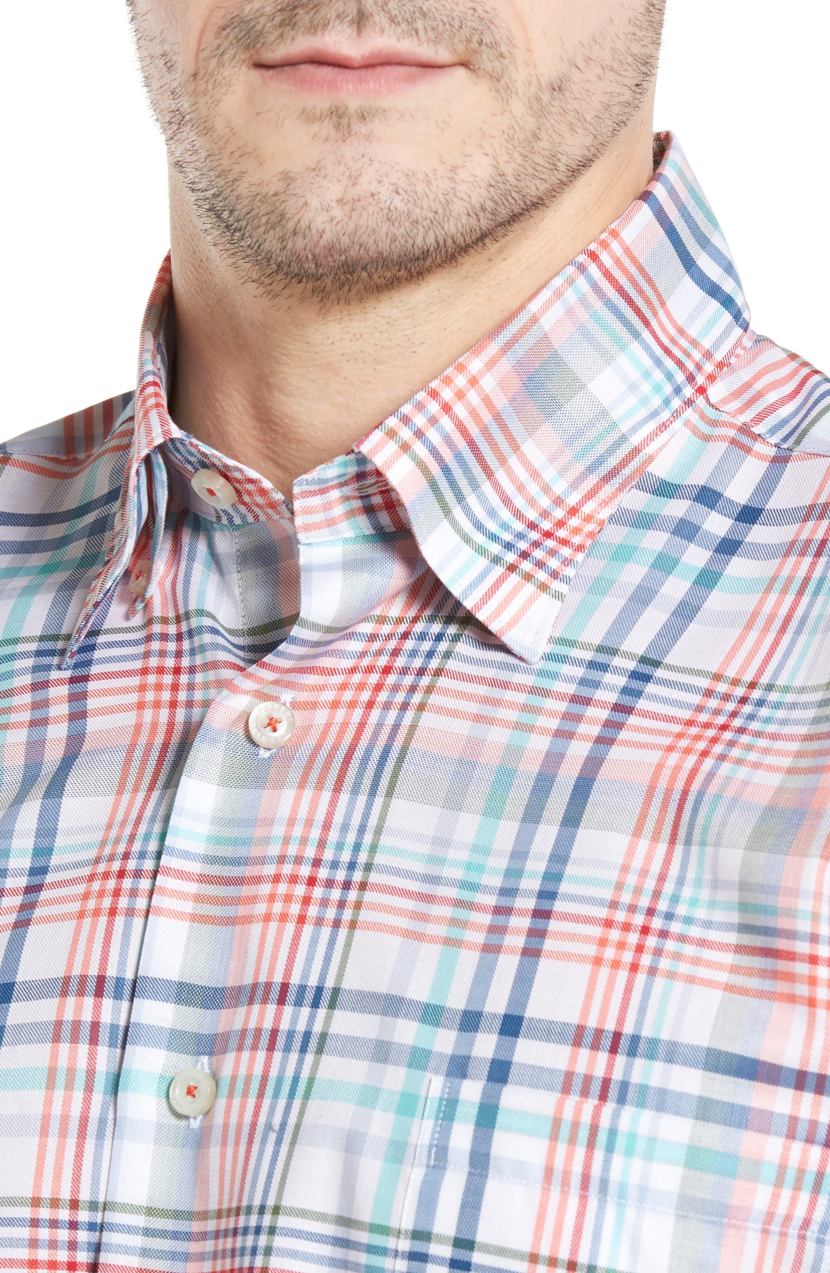 ROBERT TALBOTT,                             Anderson Classic Fit Plaid Twill Sport Shirt,                             Alternate thumbnail 4, color,                             860