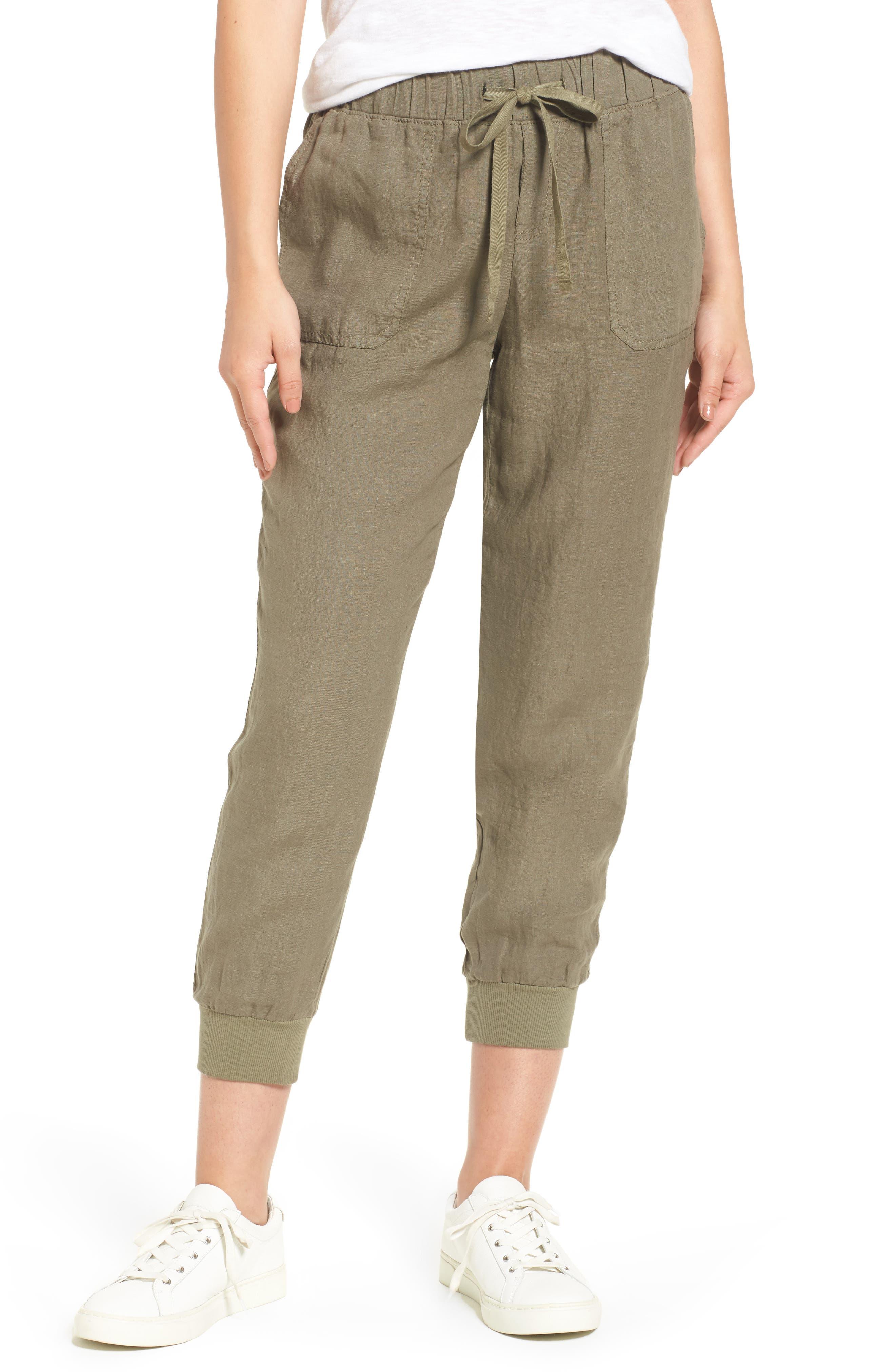 CASLON<SUP>®</SUP> Linen Jogger Pants, Main, color, OLIVE
