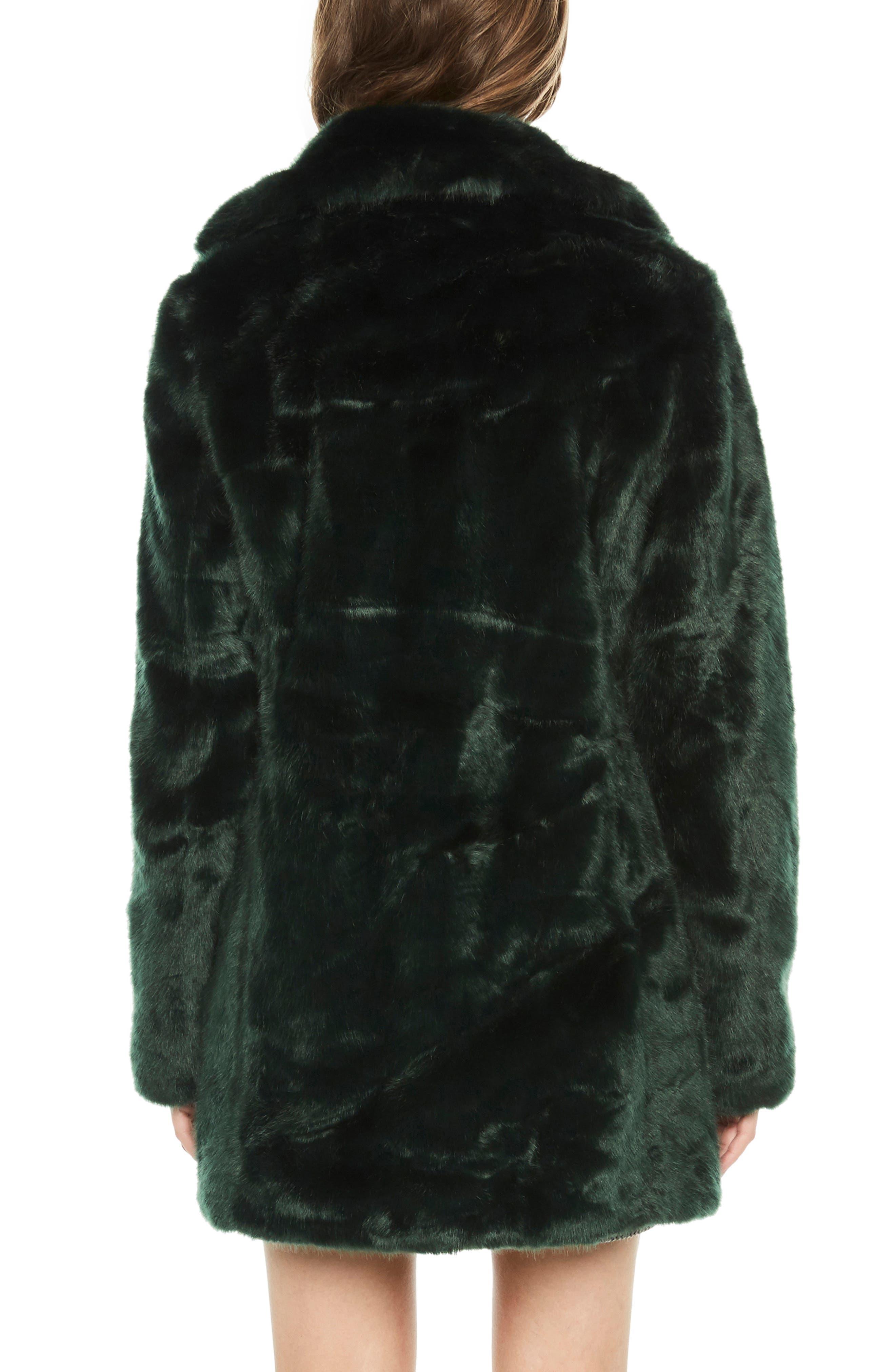 Faux Fur Coat,                             Alternate thumbnail 2, color,                             FOREST