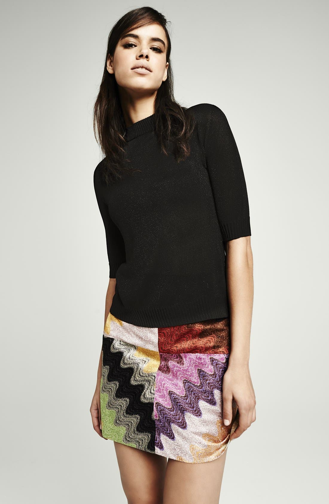 Multicolor Wave Stitch Miniskirt,                             Alternate thumbnail 5, color,