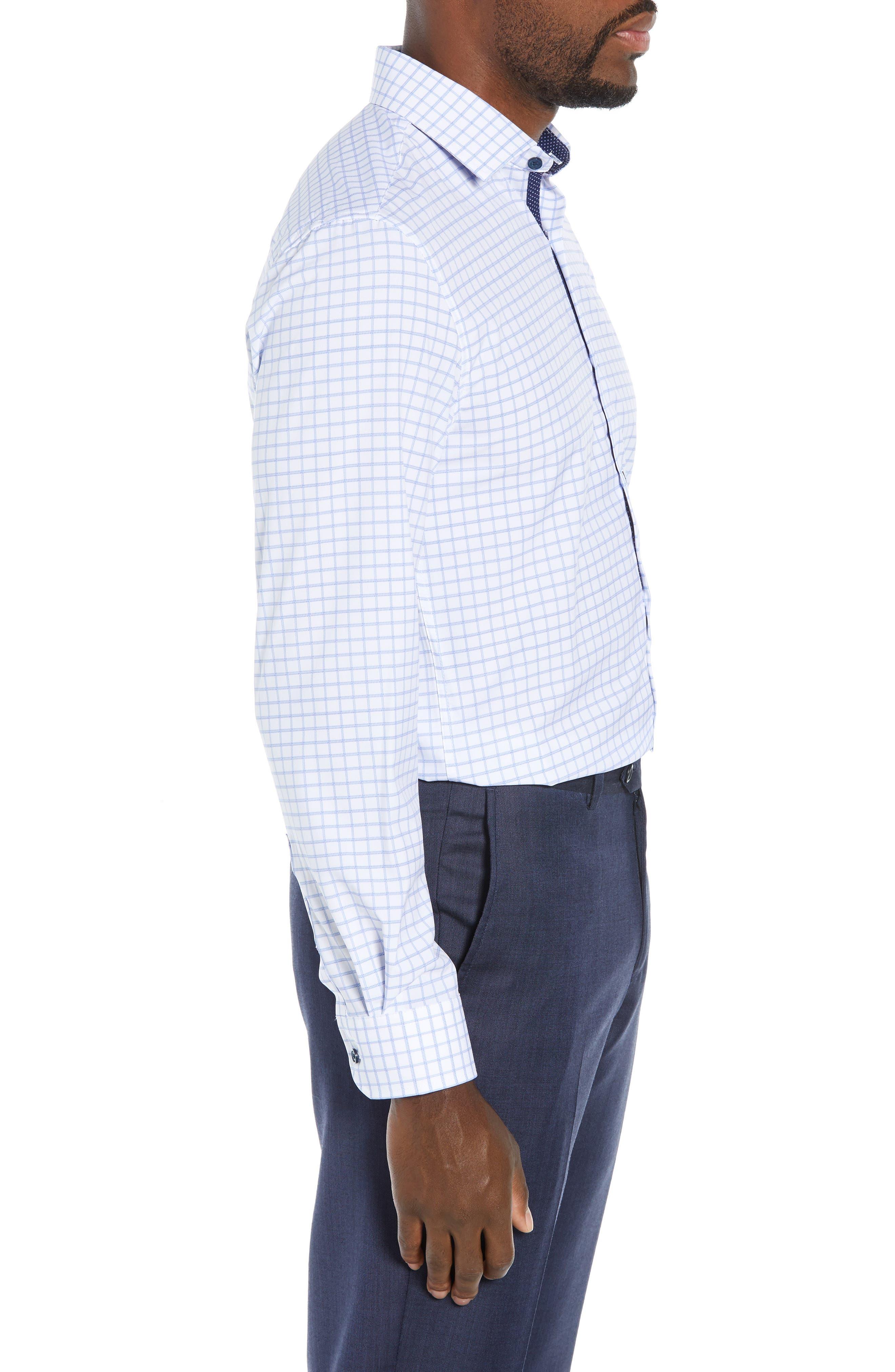 Trim Fit 4-Way Stretch Check Dress Shirt,                             Alternate thumbnail 4, color,                             WHITE