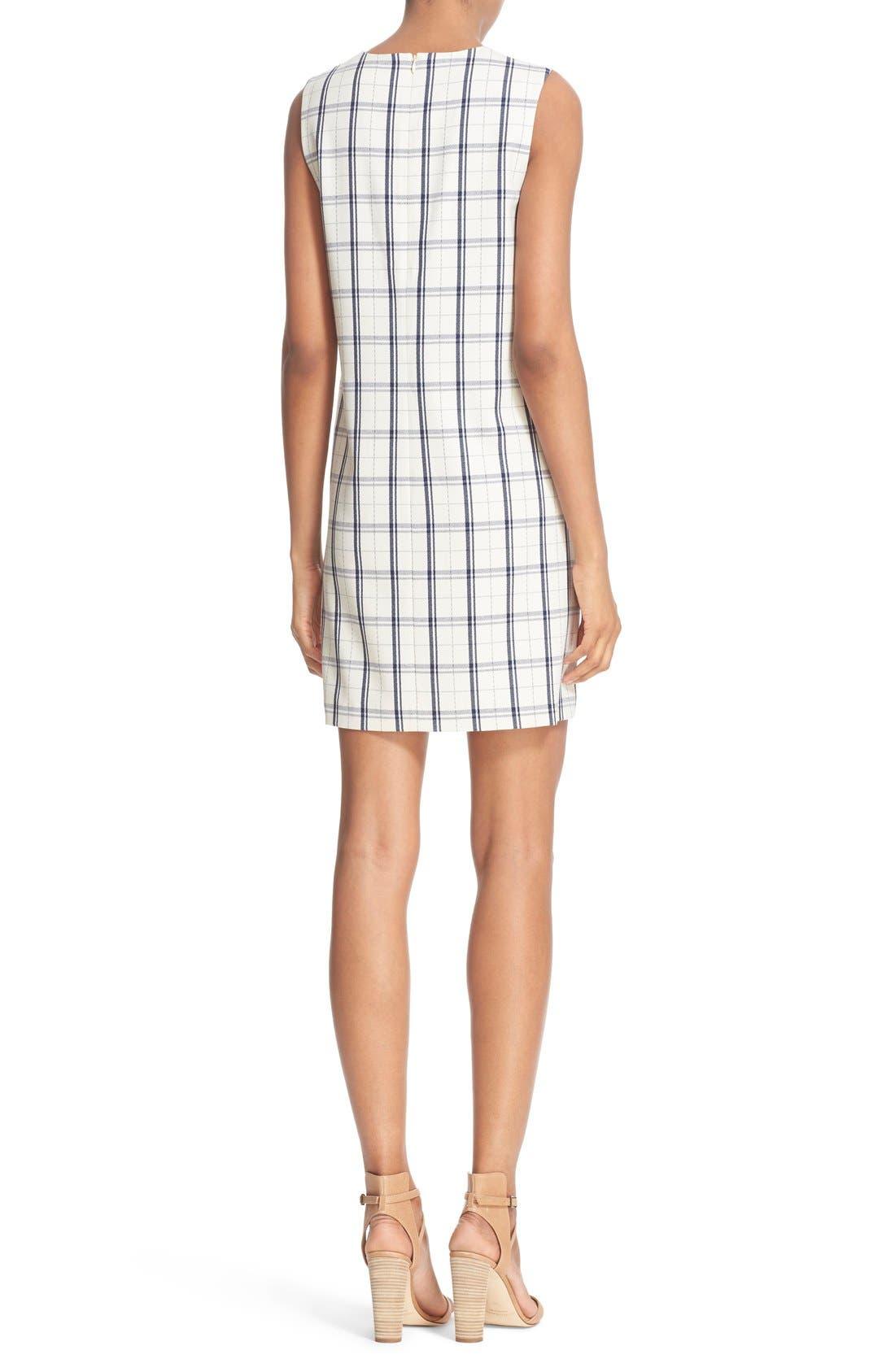 THEORY,                             'Adraya' Check Stretch Wool Shift Dress,                             Alternate thumbnail 5, color,                             900