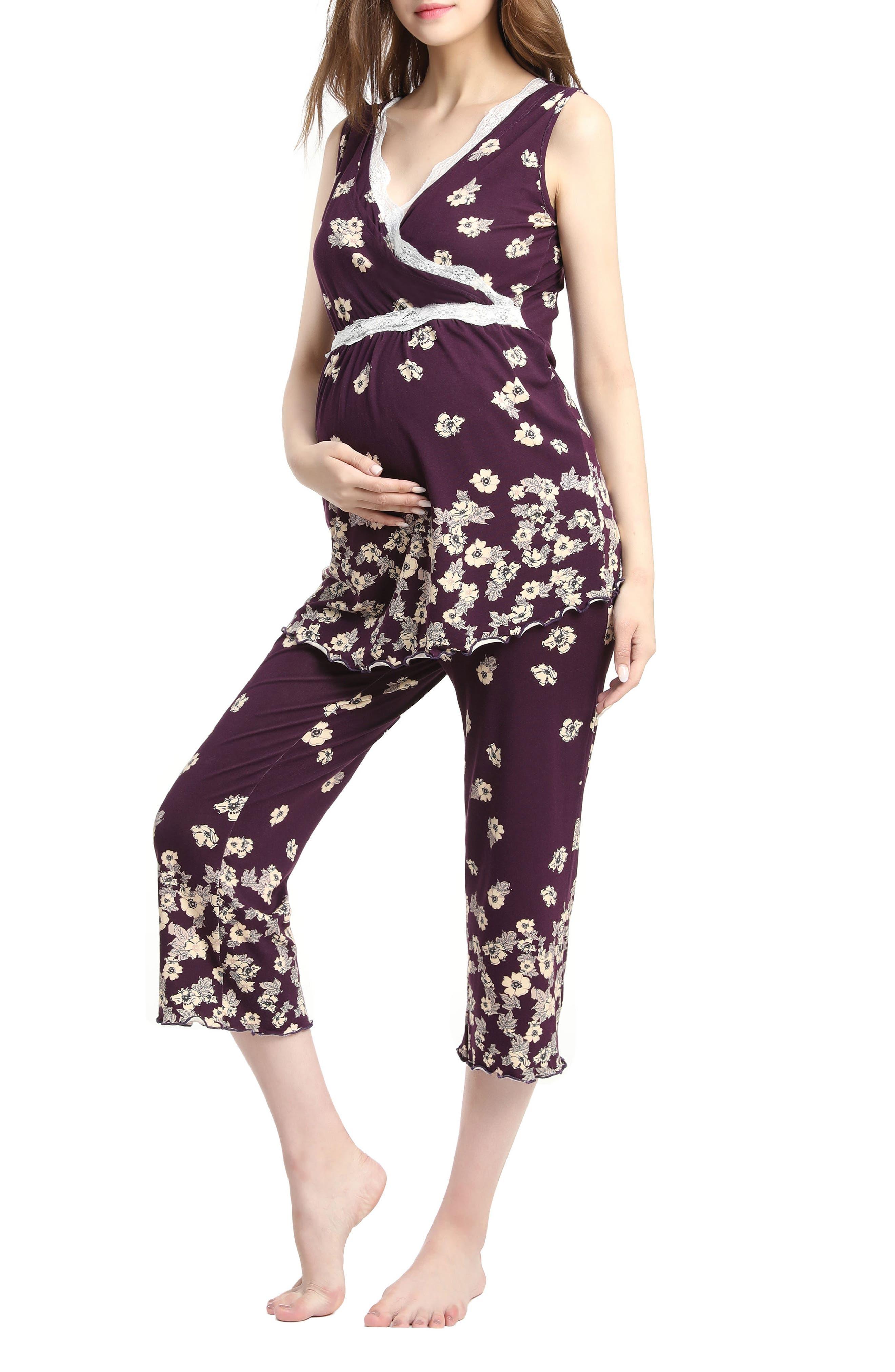 Kimi & Kai Loren Nursing/Maternity Pajamas,                             Alternate thumbnail 3, color,                             EGGPLANT