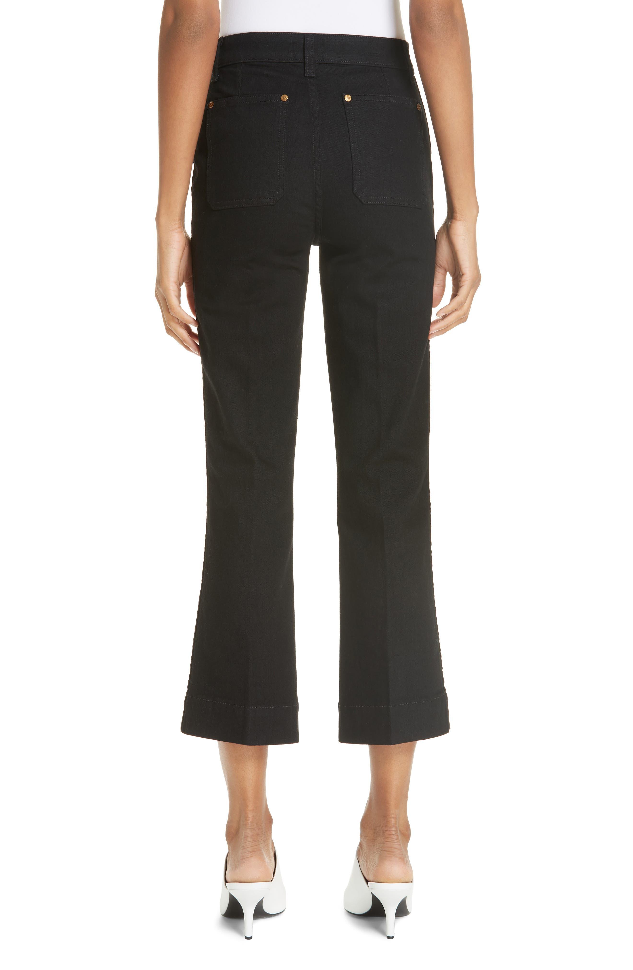 Patch Pocket Crop Flare Jeans,                             Alternate thumbnail 2, color,                             BLACK RINSE