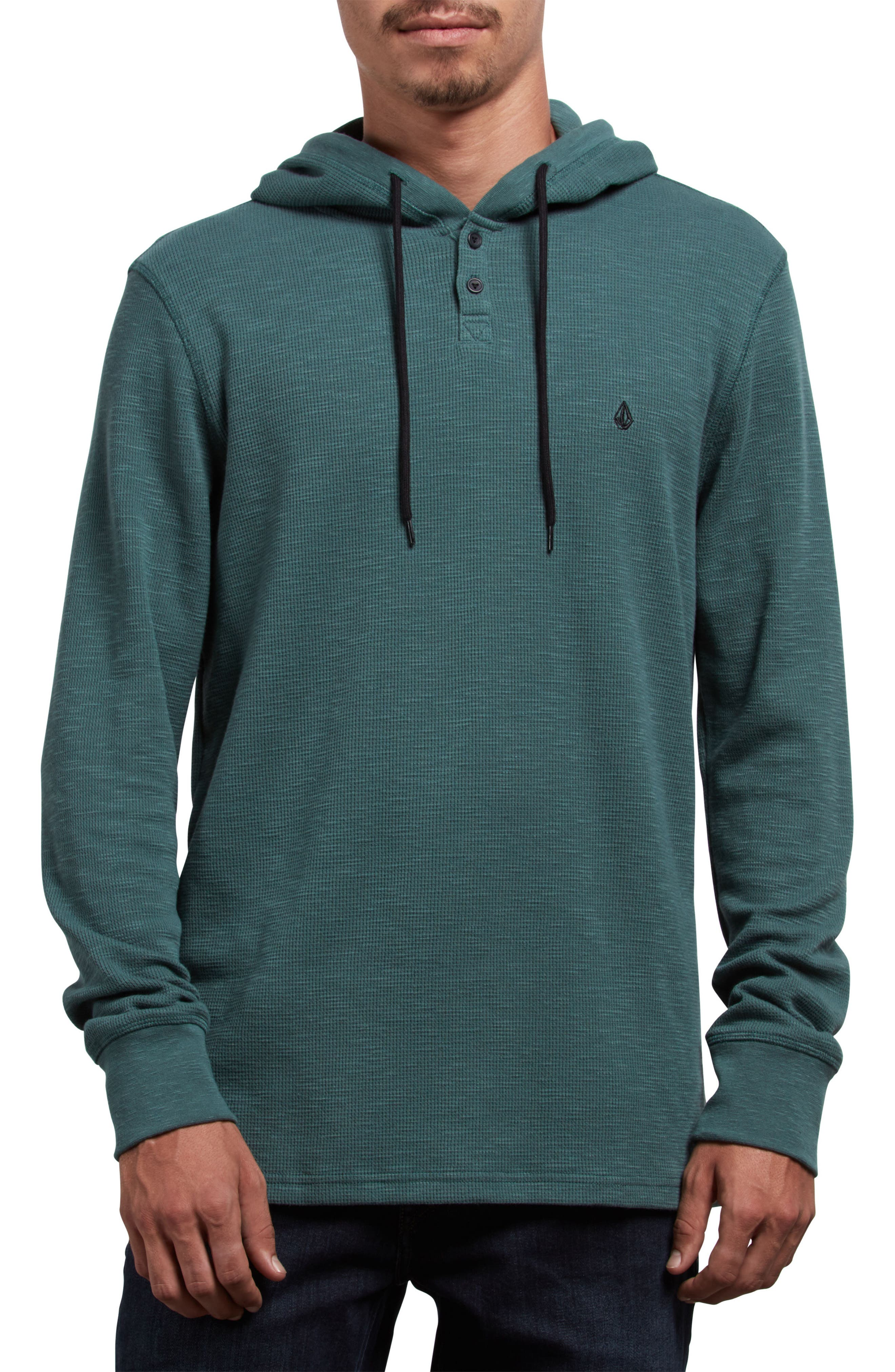 VOLCOM,                             Murphy Thermal Henley Hoodie,                             Main thumbnail 1, color,                             366