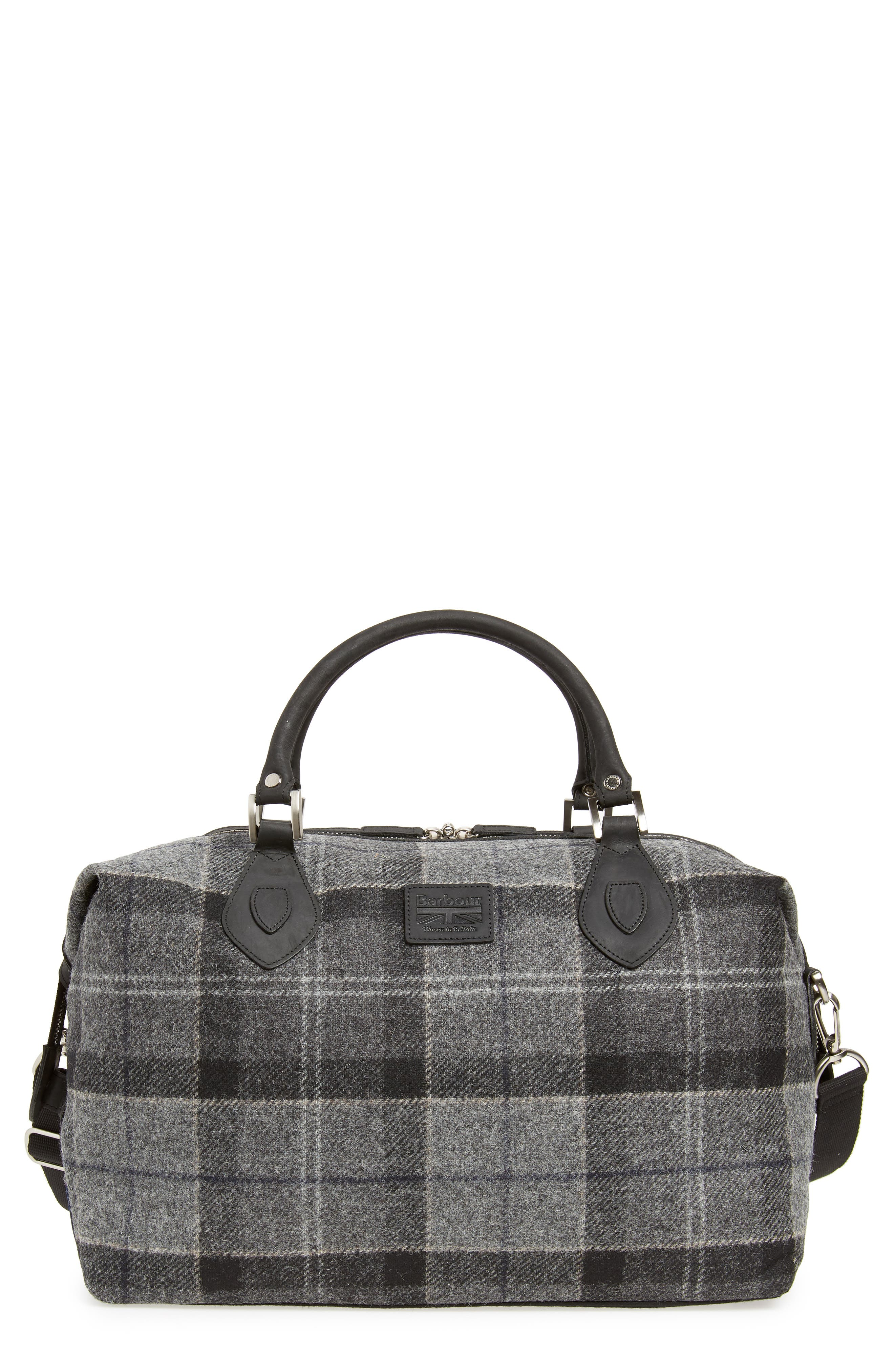 Shadow Duffel Bag,                         Main,                         color, BLACK/ GREY TARTAN
