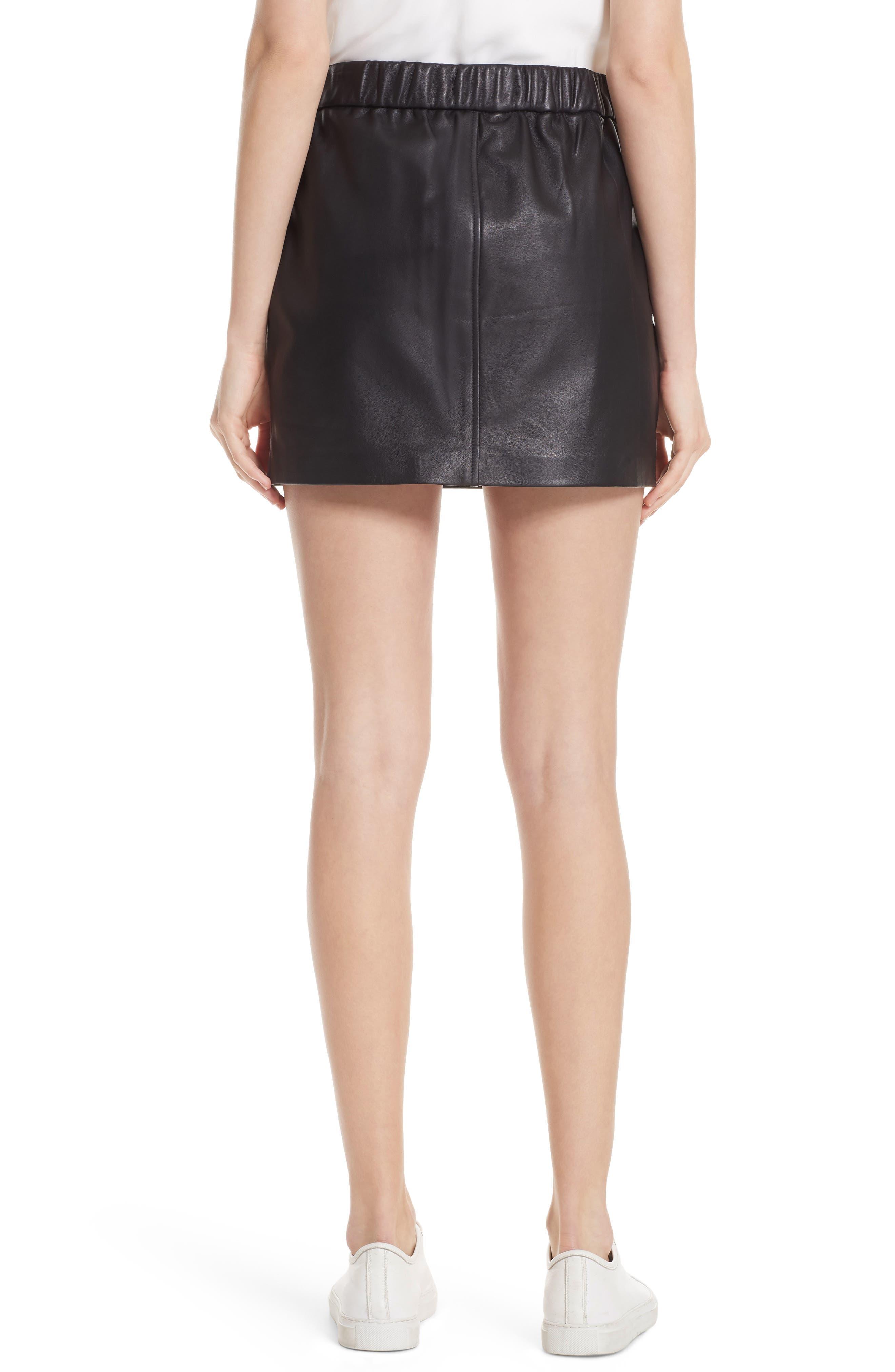 Pull-On Leather Miniskirt,                             Alternate thumbnail 2, color,                             NOIR