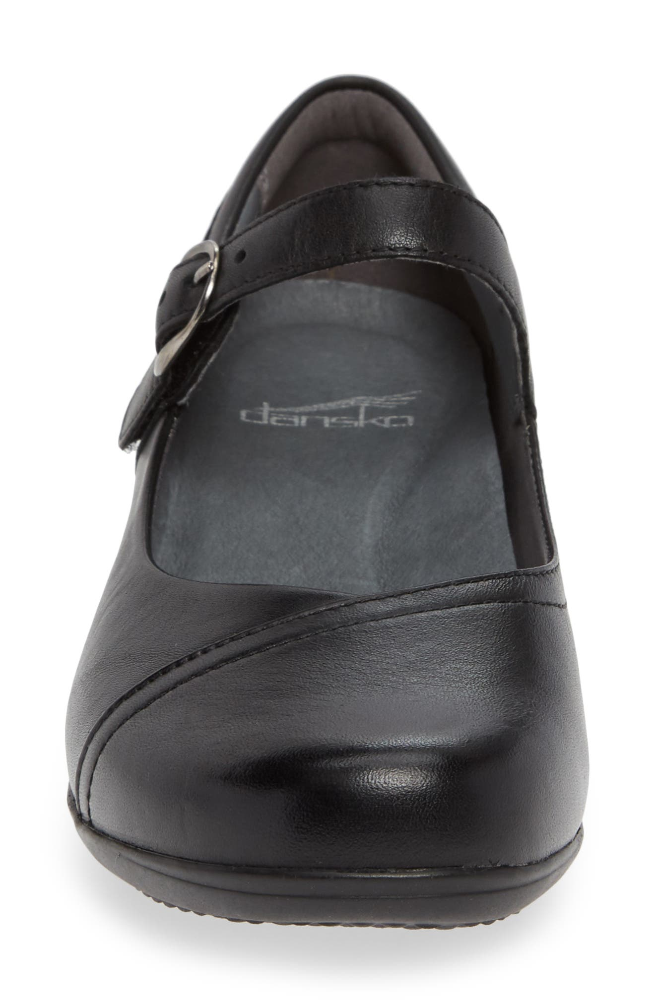 Fawna Mary Jane Flat,                             Alternate thumbnail 4, color,                             BLACK MILLED LEATHER