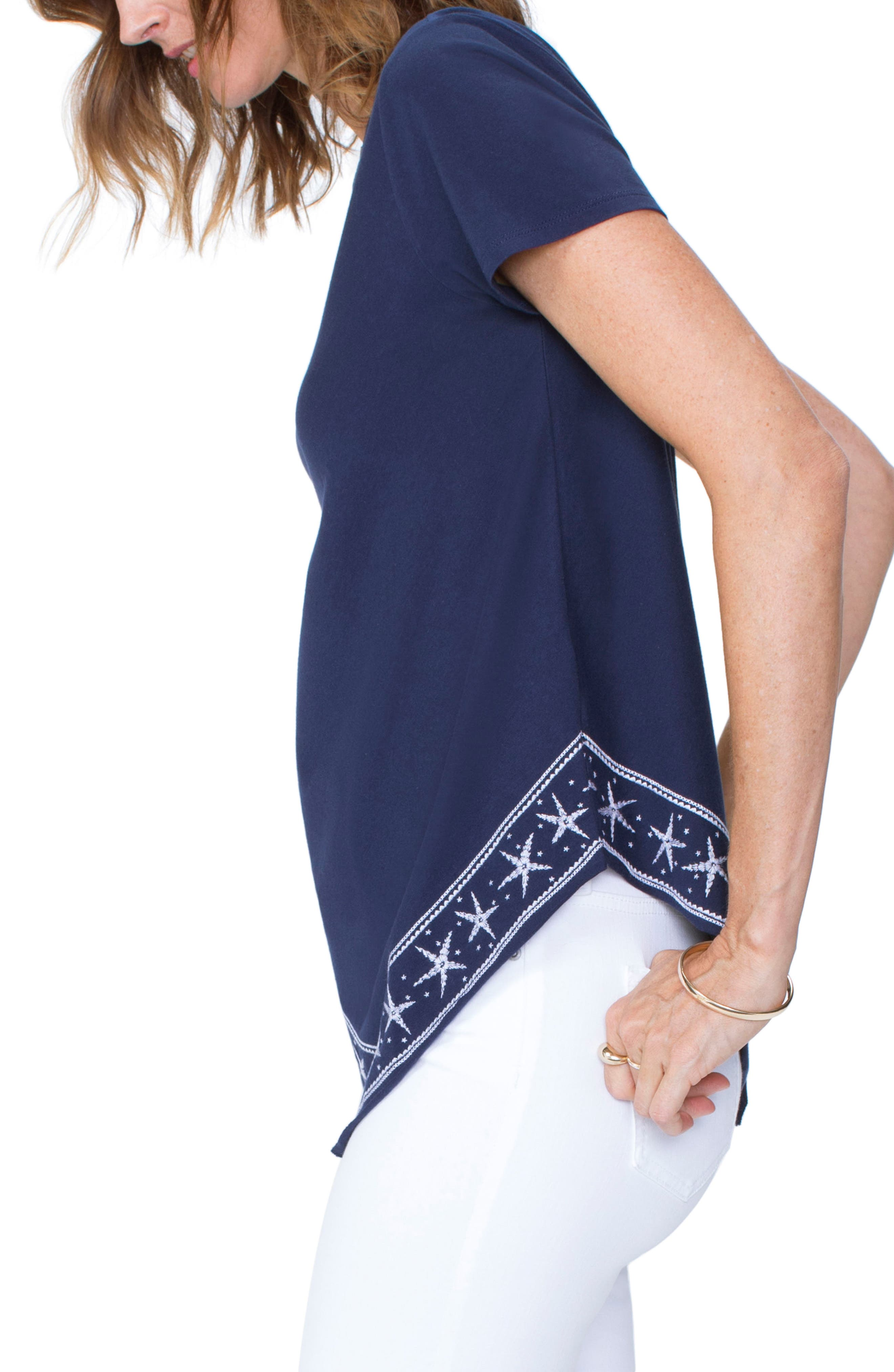 Embroidered Handkerchief Cotton Blend Top,                             Alternate thumbnail 3, color,                             401