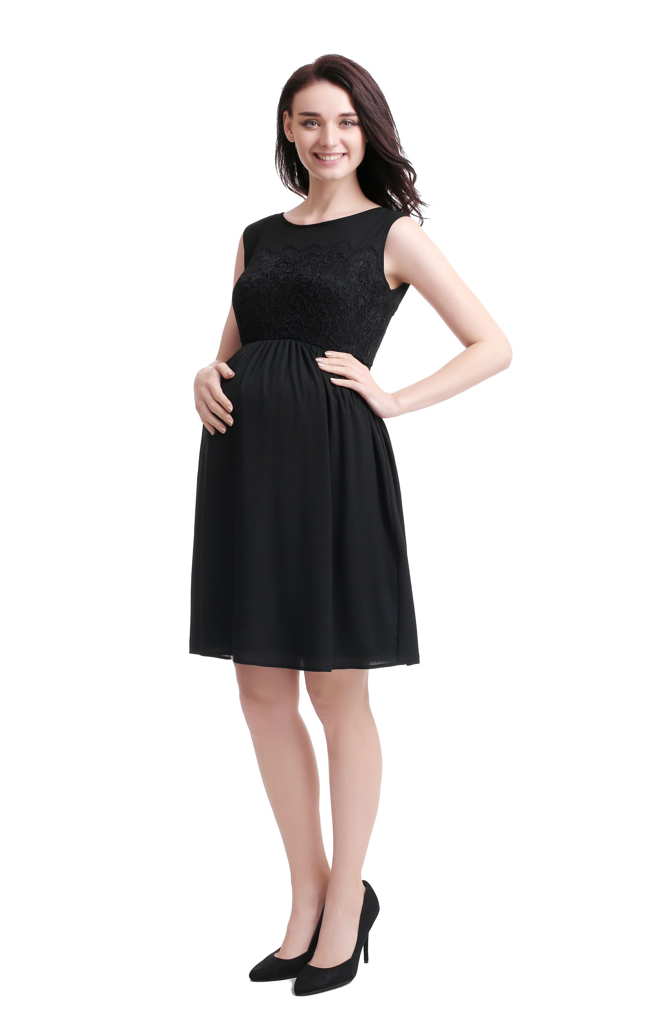Sade Lace & Mesh Maternity Dress,                             Alternate thumbnail 3, color,                             BLACK