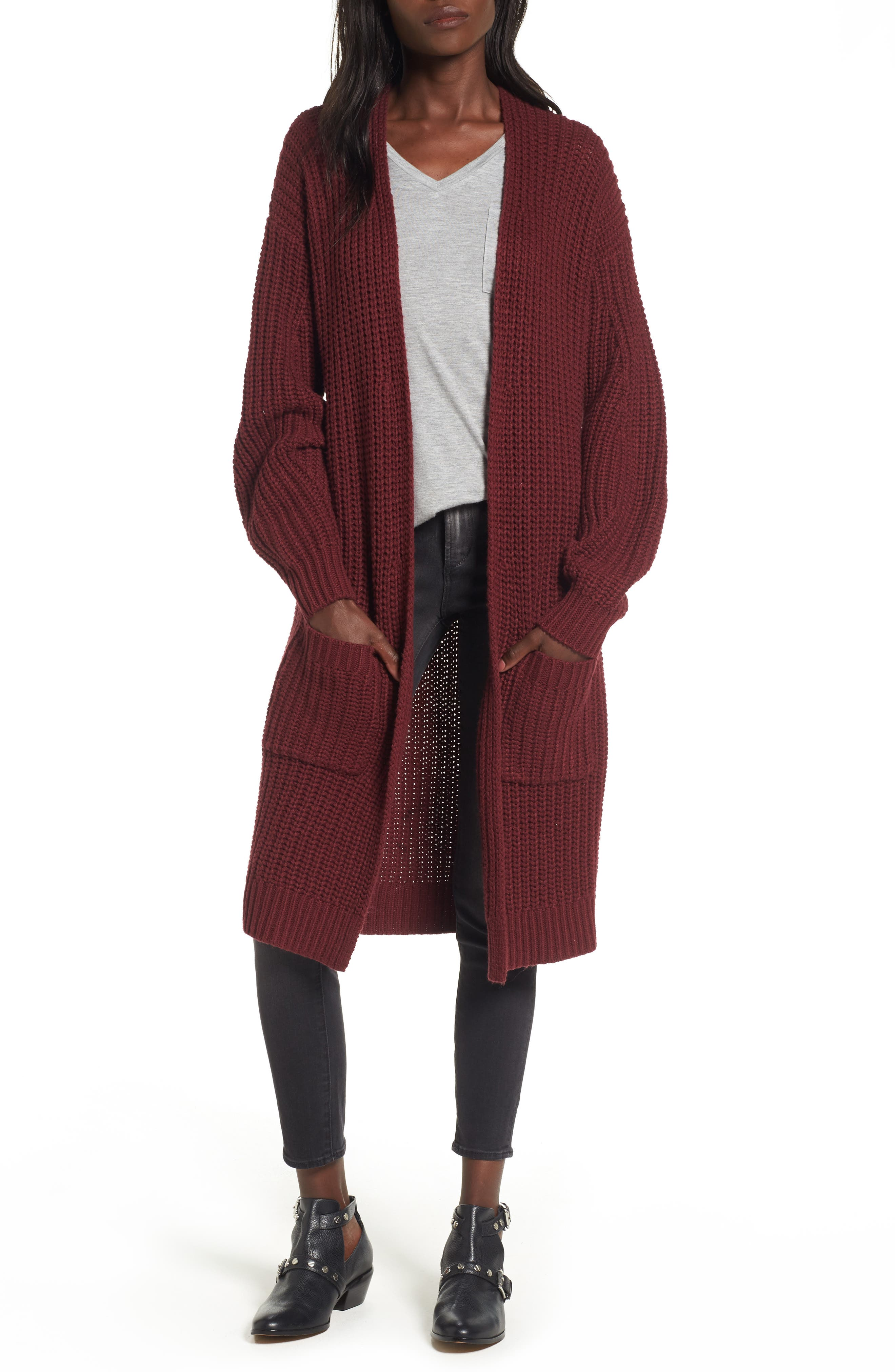 Shaped Sleeve Longline Cardigan,                             Main thumbnail 2, color,