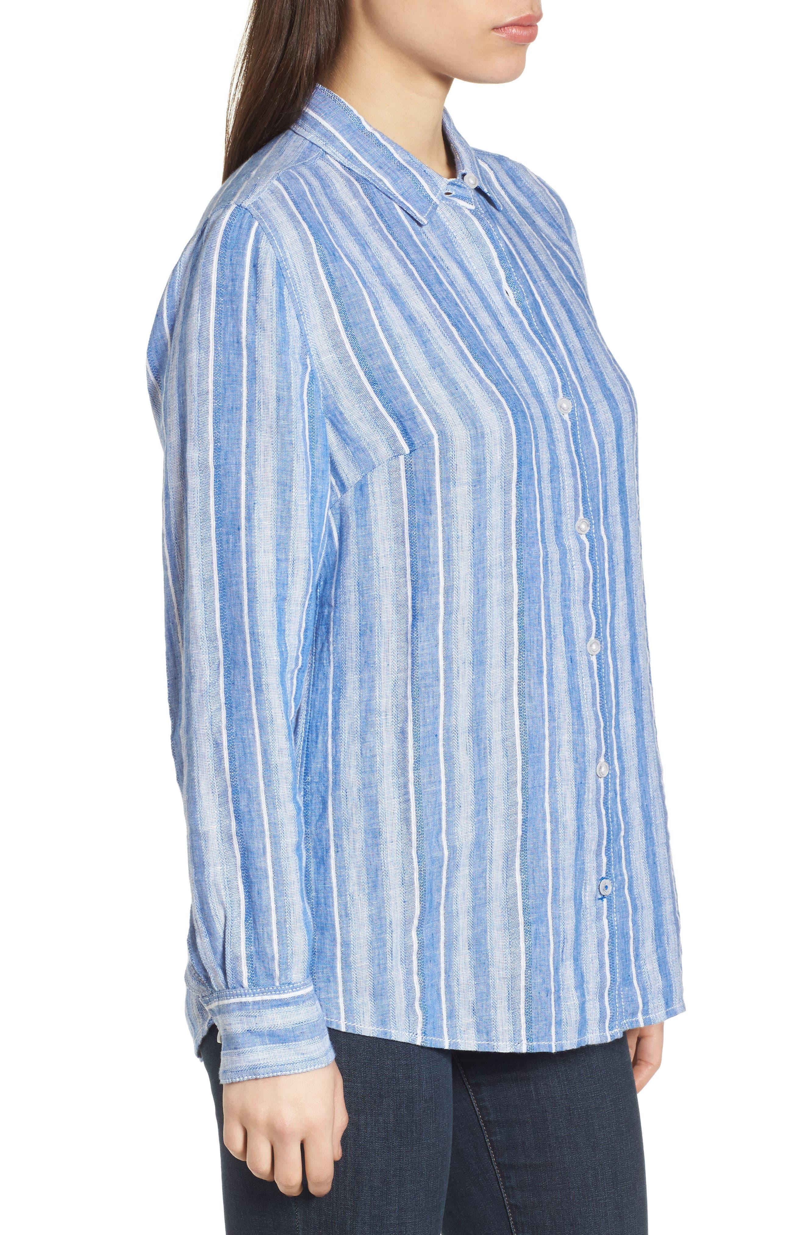 Santiago Stripe Linen Blend Shirt,                             Alternate thumbnail 3, color,                             BLUE SEA