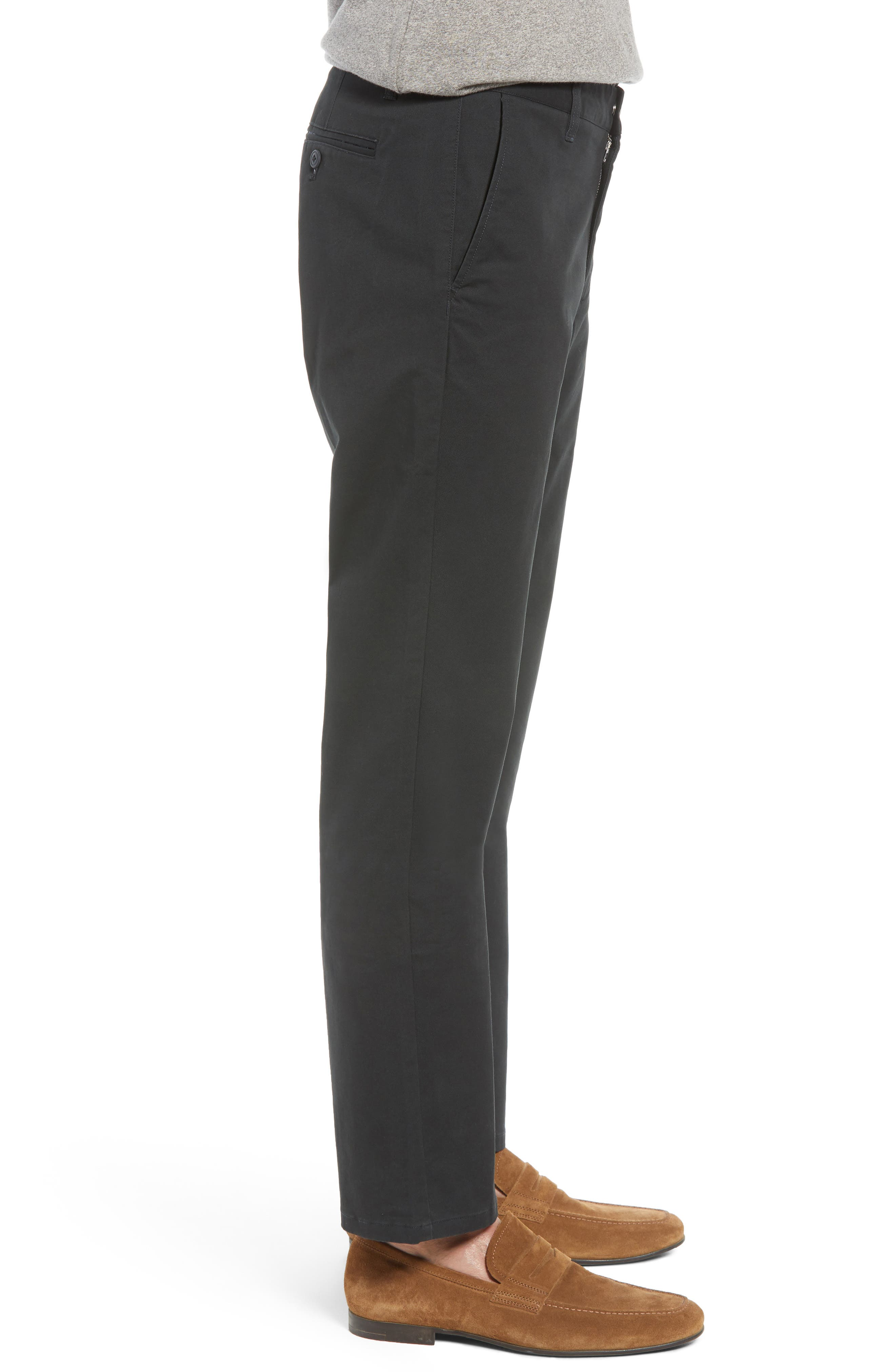 Straight Leg Stretch Washed Chinos,                             Alternate thumbnail 3, color,                             JET BLACK