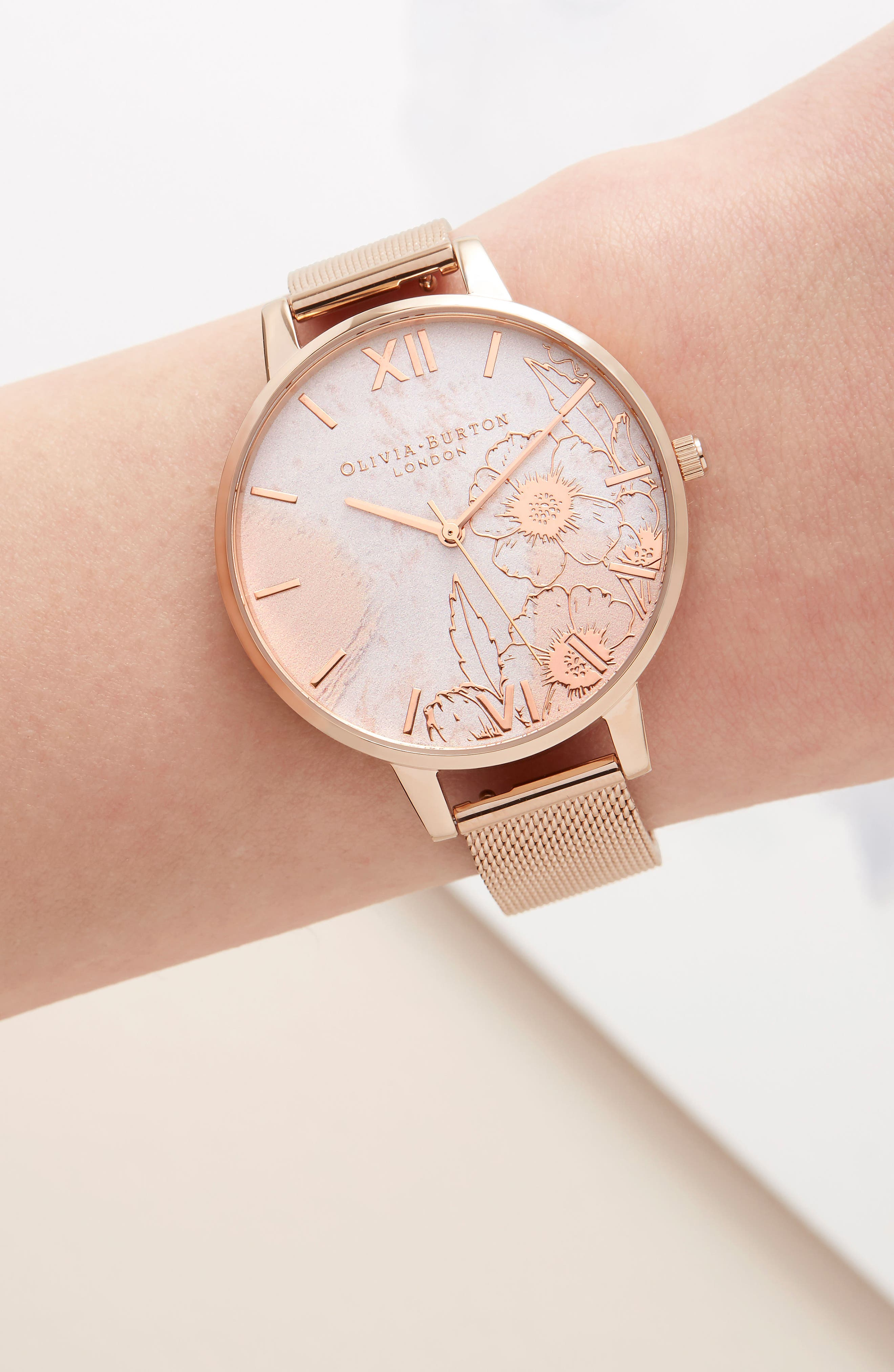 Case Cuff Mesh Strap Watch, 38mm,                             Alternate thumbnail 9, color,                             ROSE GOLD/ FLORAL/ ROSE GOLD