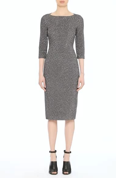 Houndstooth Stretch Metallic Jacquard Sheath Dress, video thumbnail