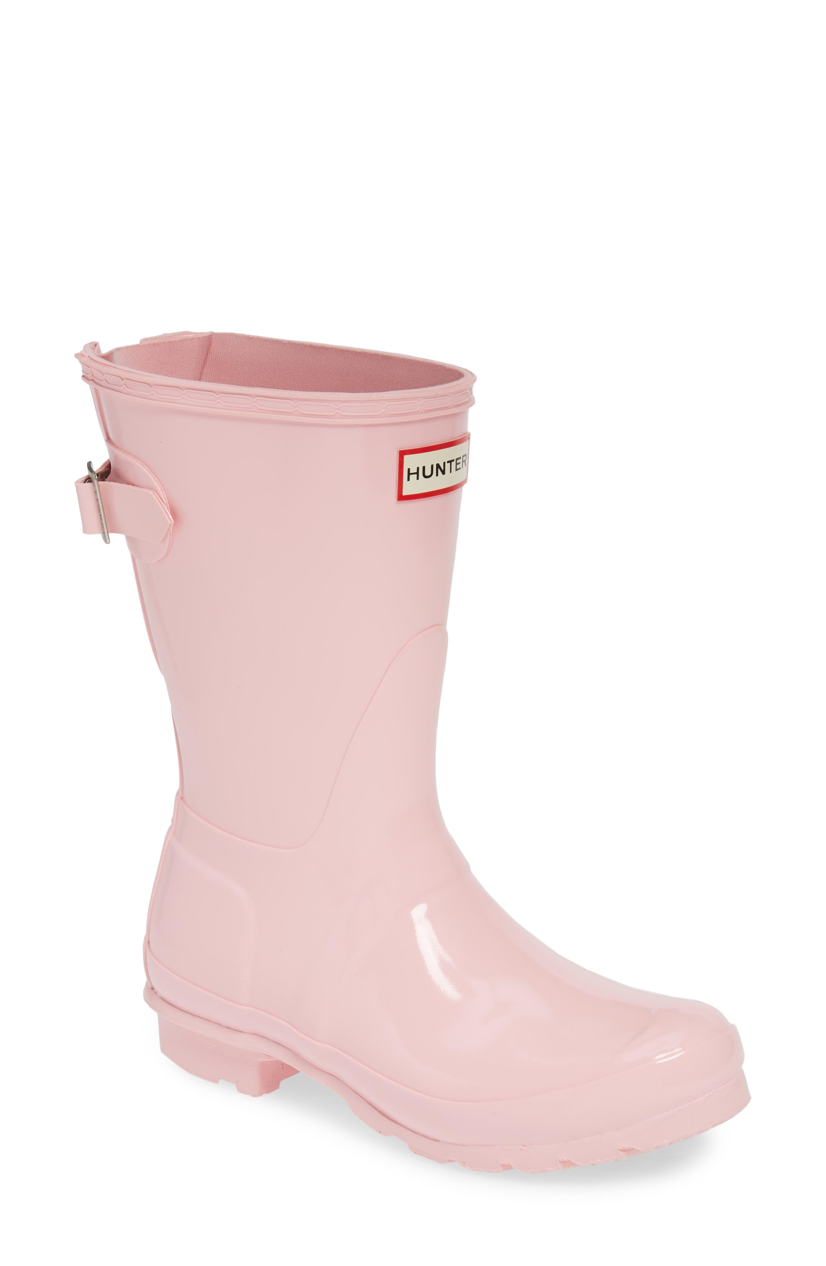HUNTER,                             Original Short Adjustable Back Gloss Waterproof Rain Boot,                             Main thumbnail 1, color,                             CANDY FLOSS RUBBER