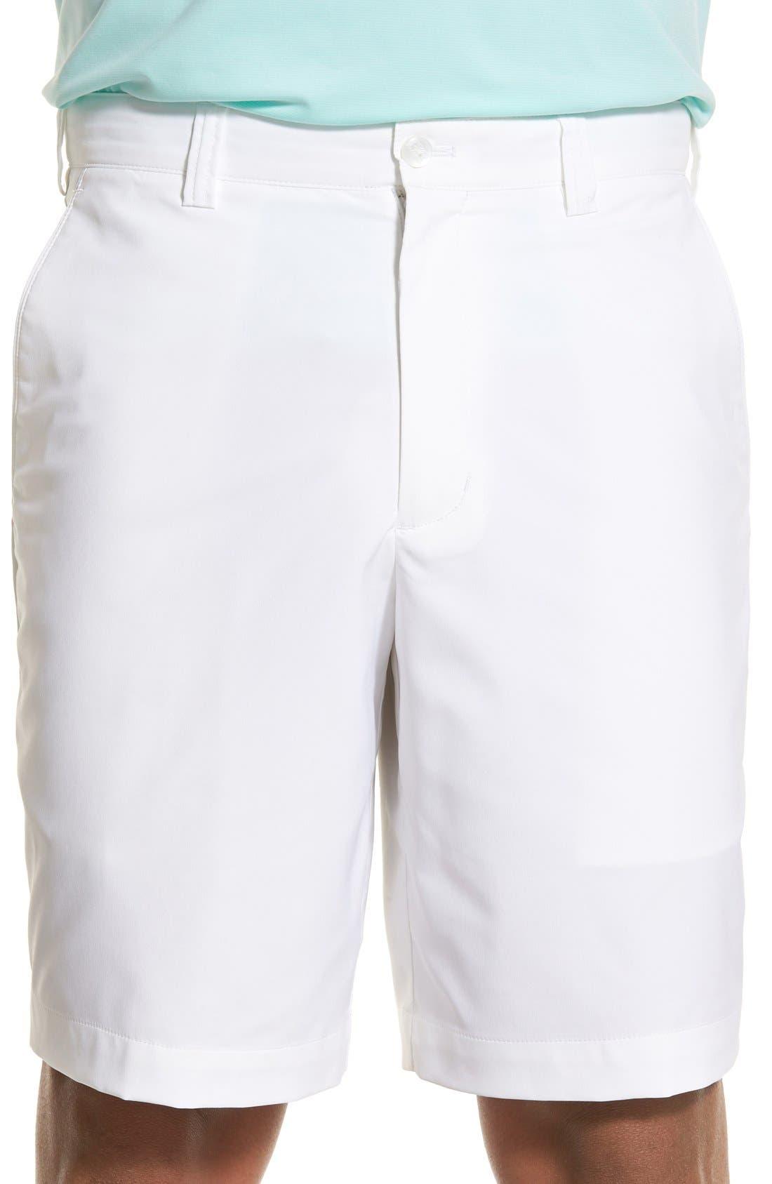 Bainbridge DryTec Flat Front Shorts,                             Main thumbnail 1, color,                             WHITE
