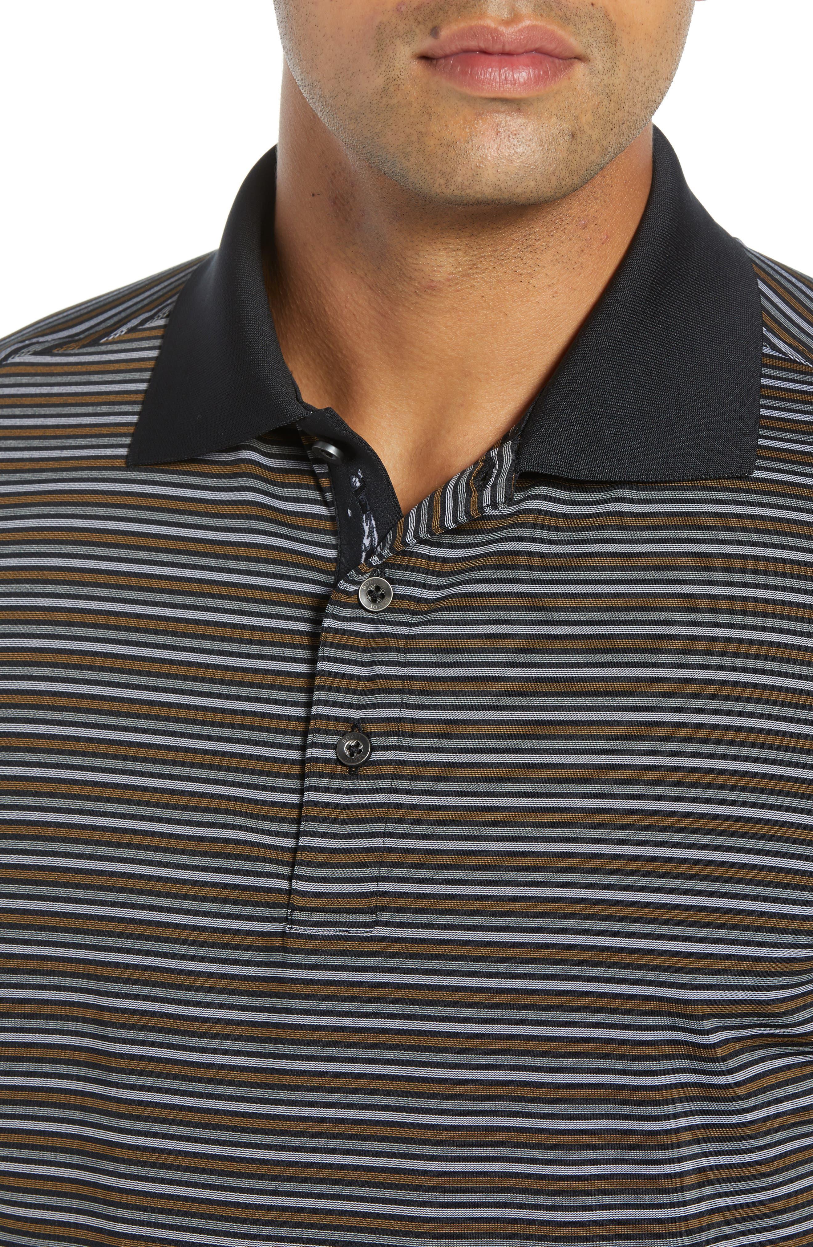 XH2O Copper Stripe Classic Polo,                             Alternate thumbnail 4, color,                             BLACK