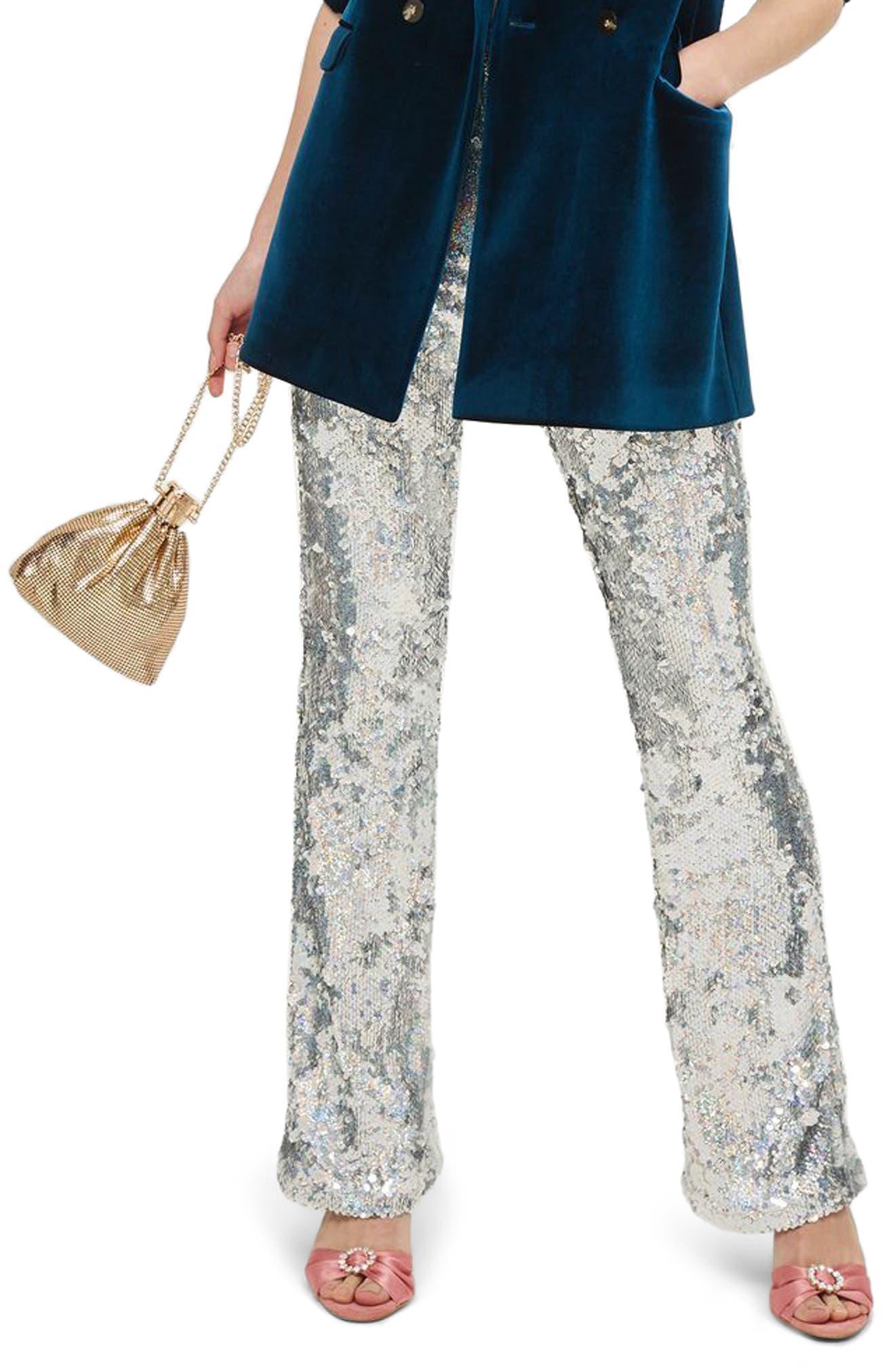 Premium Sequin Flare Leg Trousers,                             Main thumbnail 1, color,                             040