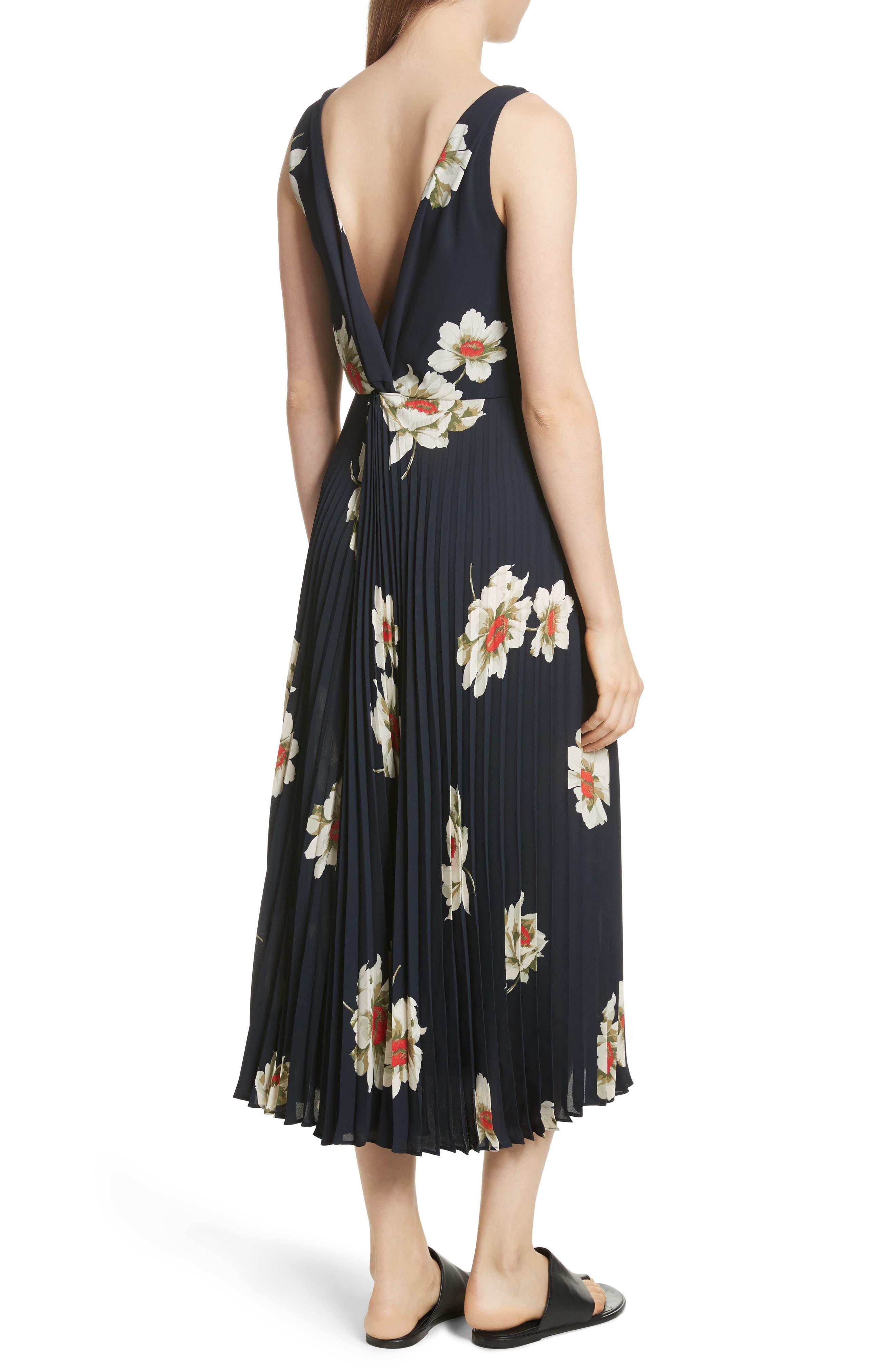 Gardenia Floral Midi Dress,                             Alternate thumbnail 2, color,                             403