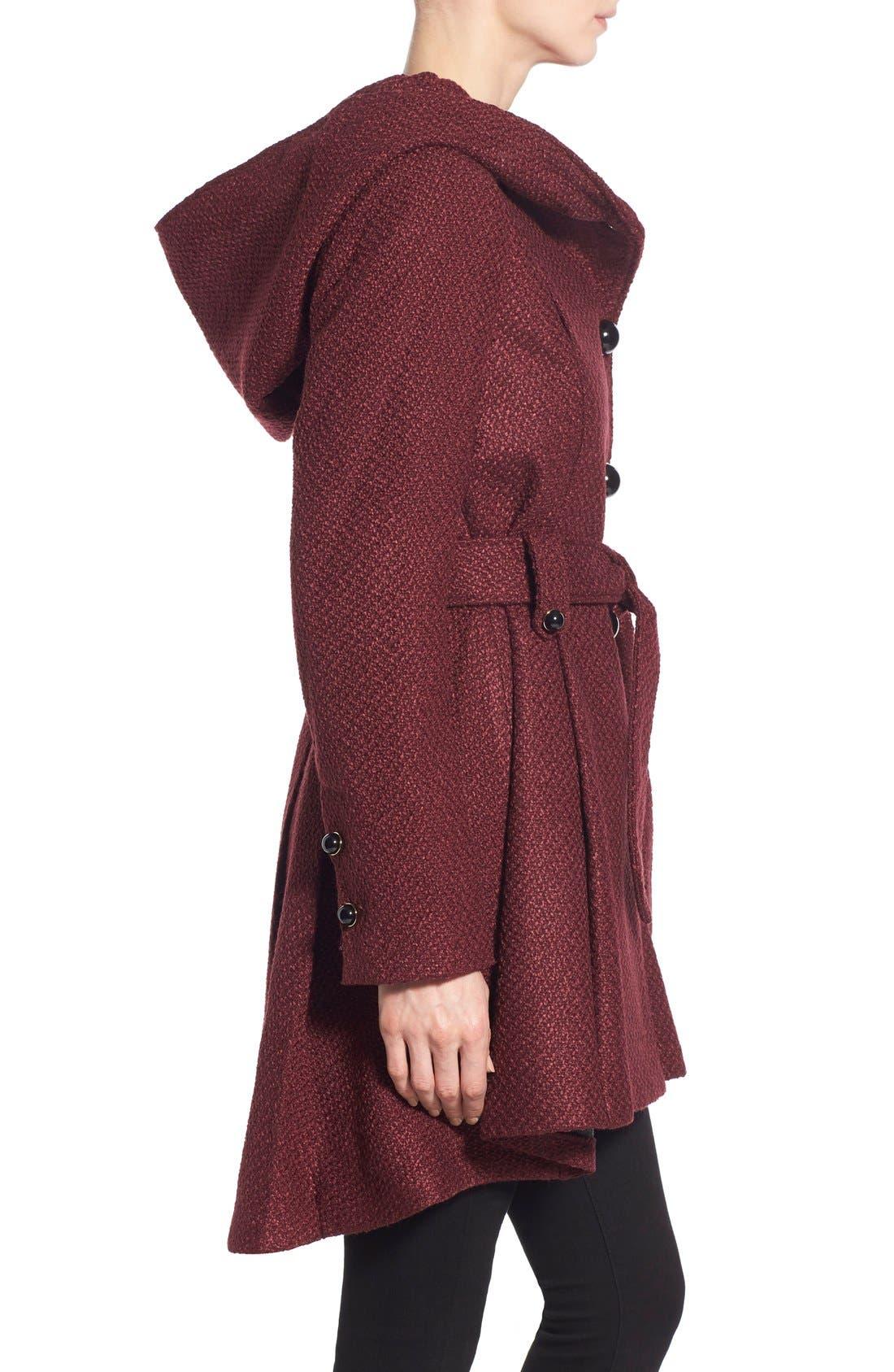 Belted Hooded Skirted Coat,                             Alternate thumbnail 19, color,