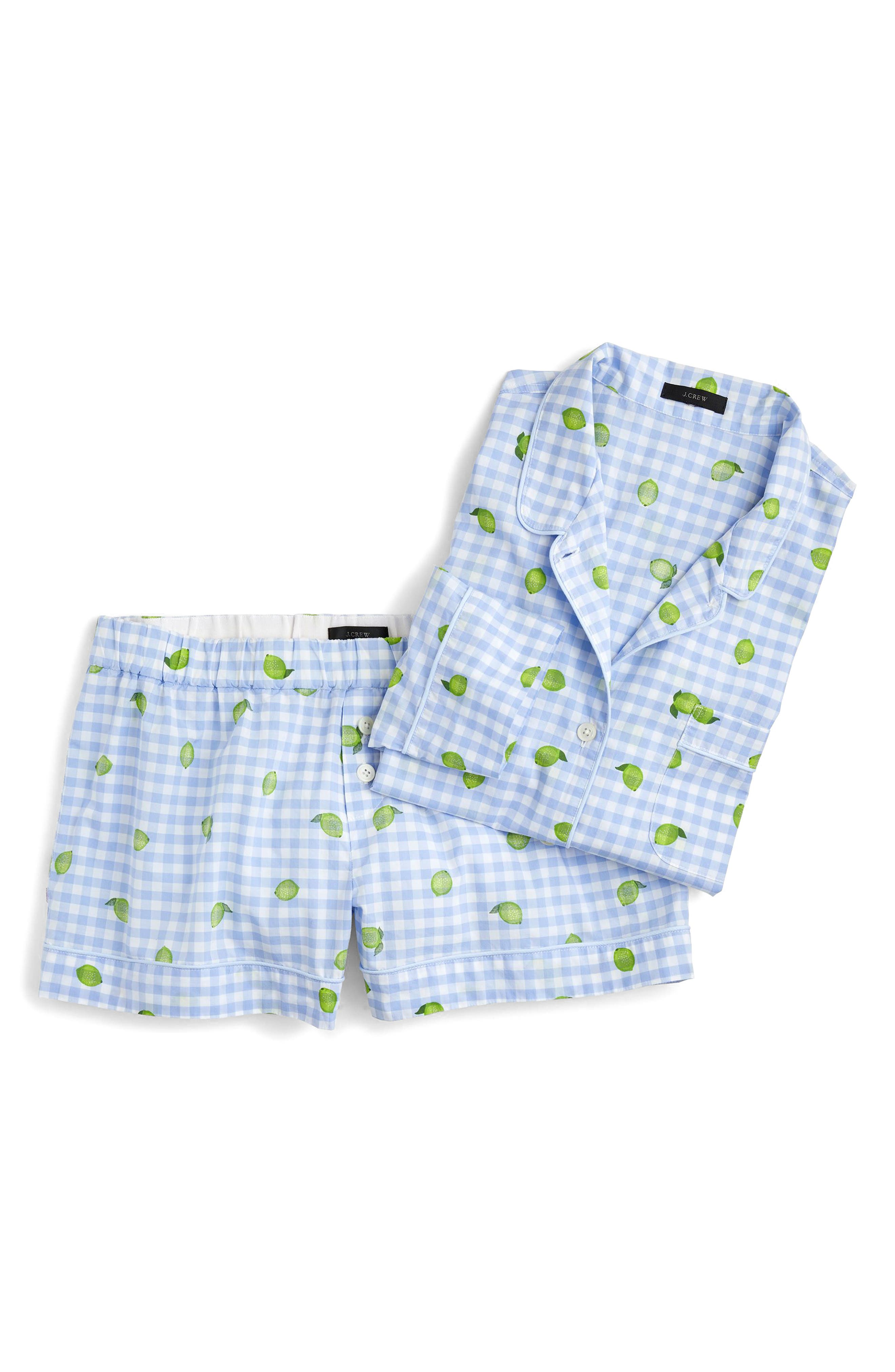 Lemon Lime Short Pajamas,                             Alternate thumbnail 3, color,                             PORT BLUE GREEN