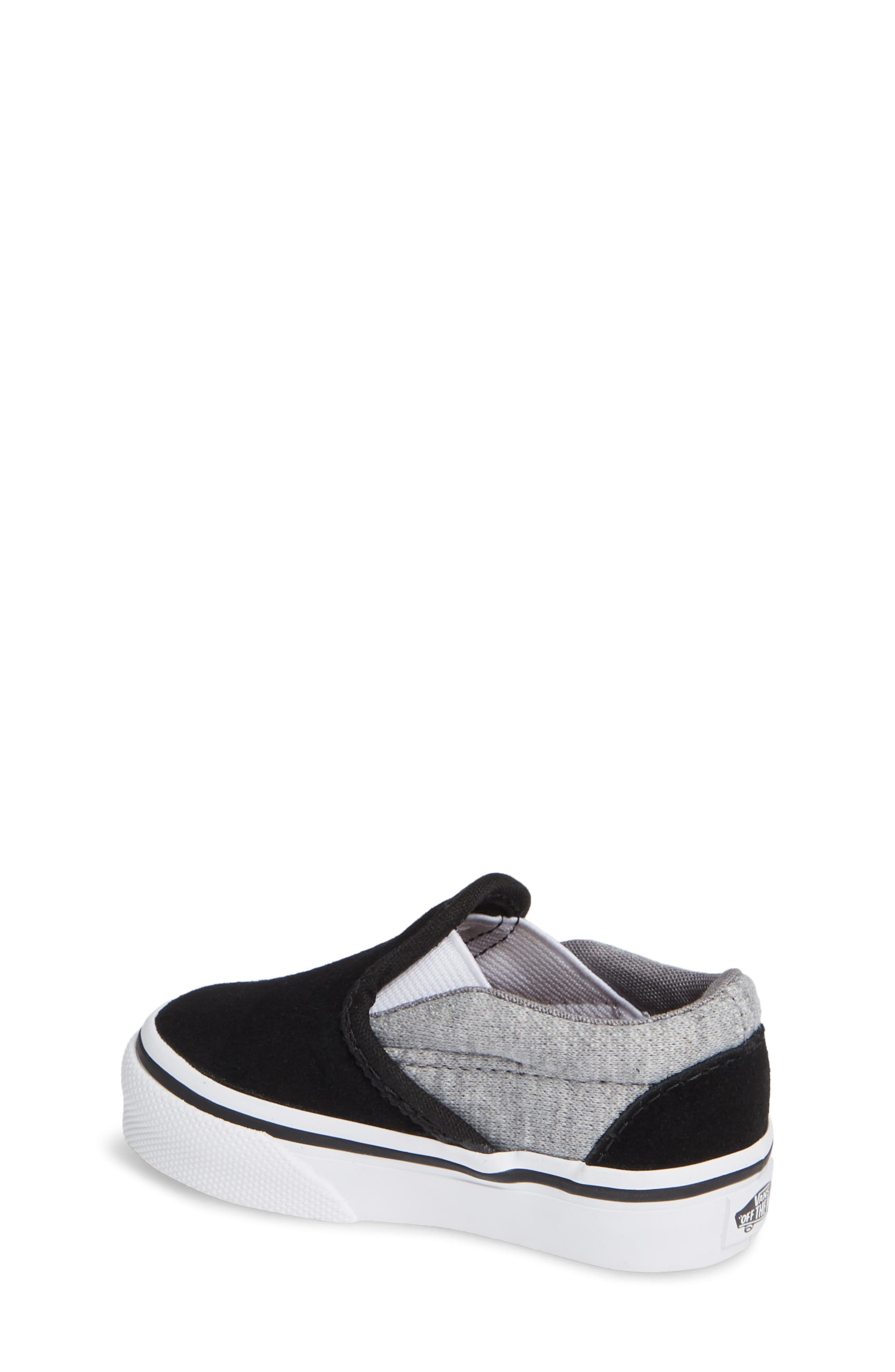 'Classic' Slip-On,                             Alternate thumbnail 2, color,                             SUEDE AND JERSEY GRAY/ BLACK