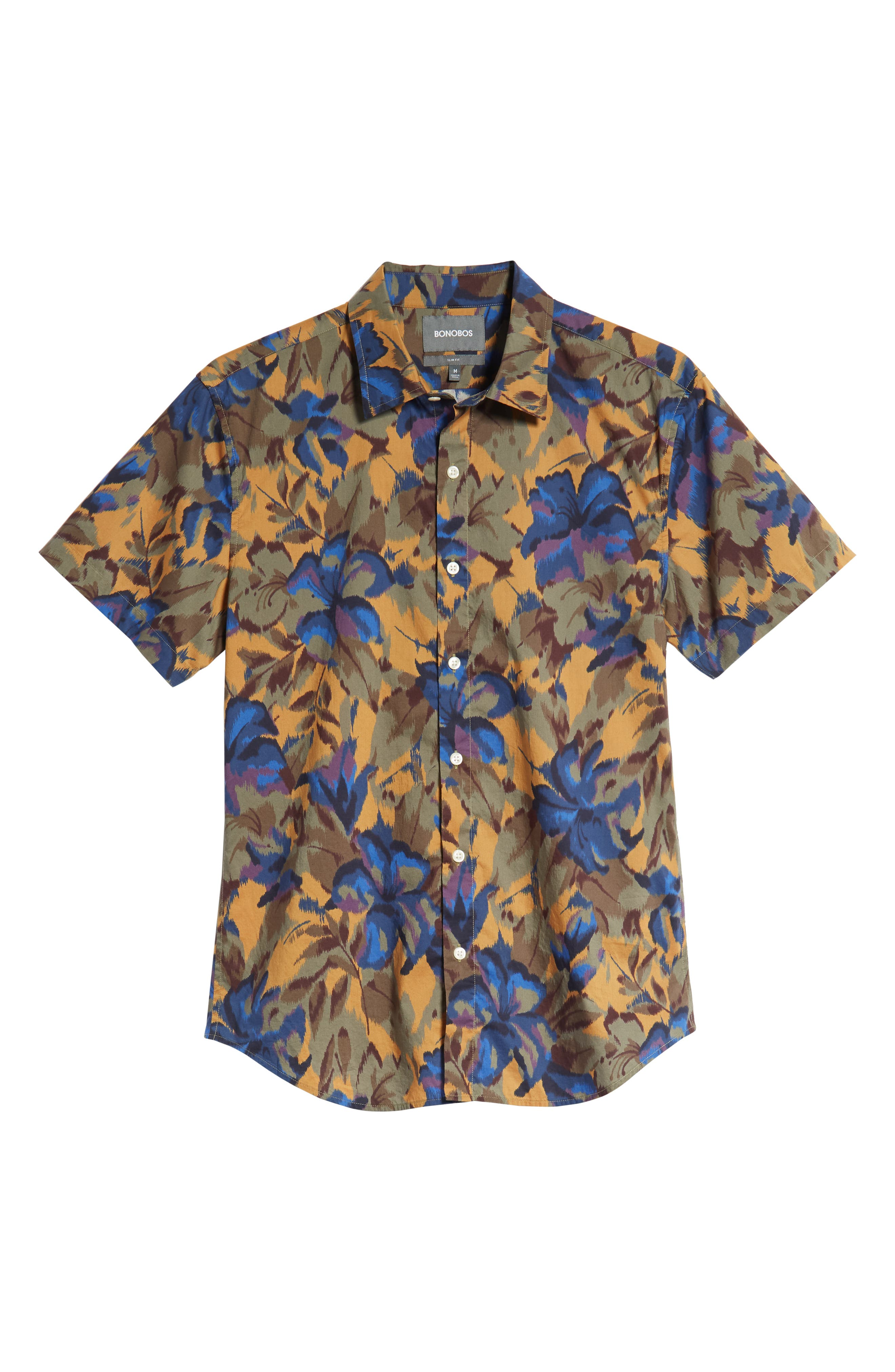 Riviera Slim Fit Sport Shirt,                             Alternate thumbnail 5, color,                             FADED FLORAL - AMBER TOPAZ