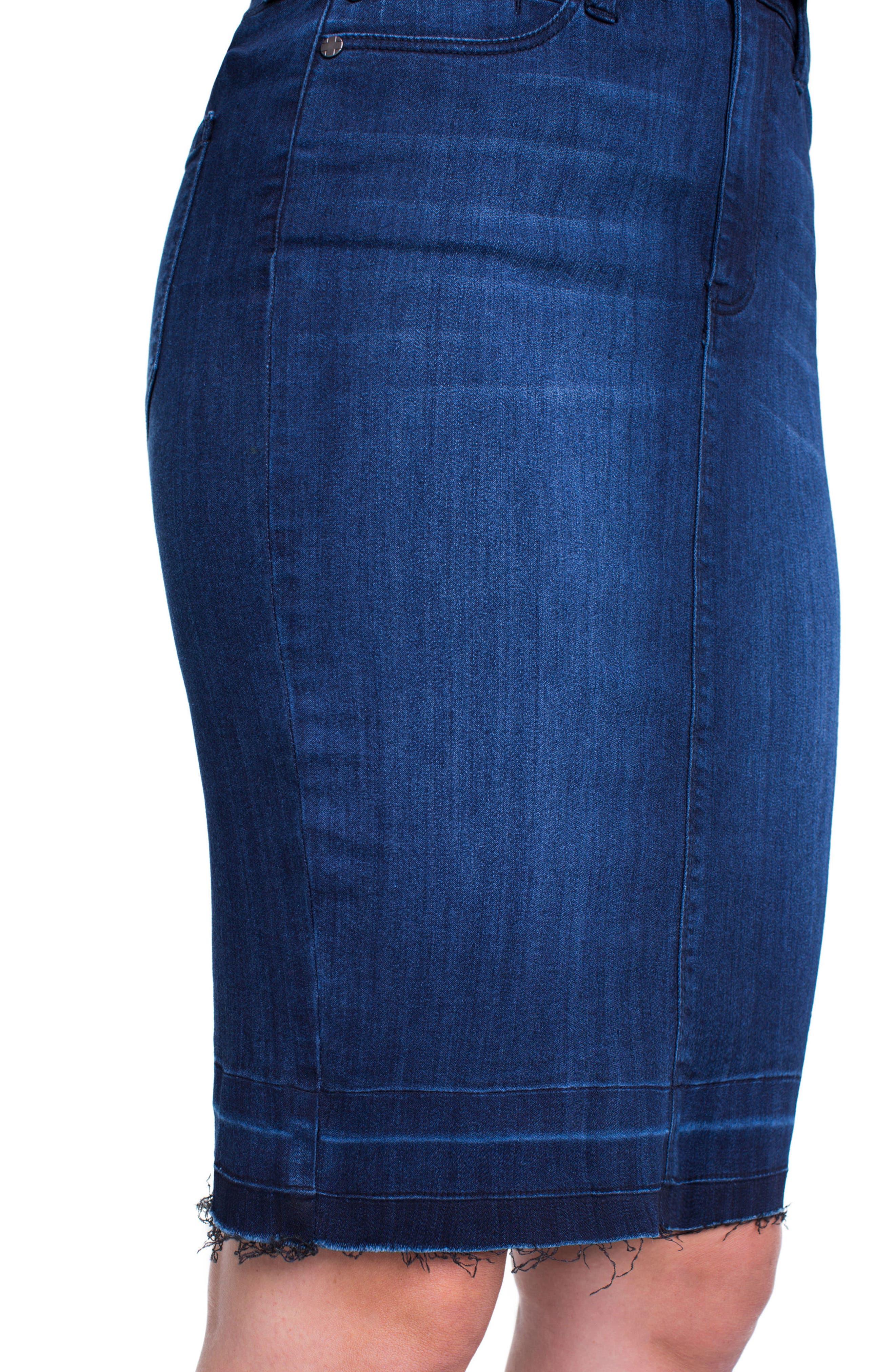 Denim Pencil Skirt,                             Alternate thumbnail 4, color,                             404