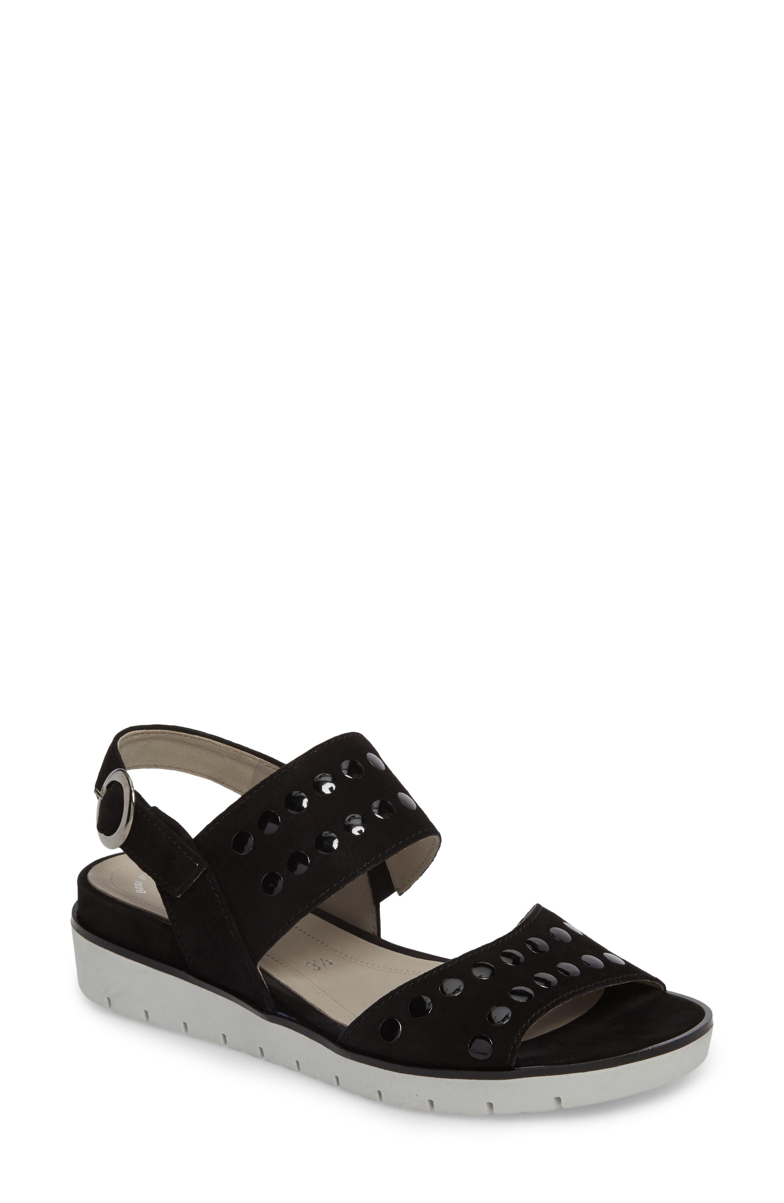 Studded Sandal,                             Main thumbnail 1, color,                             BLACK SUEDE